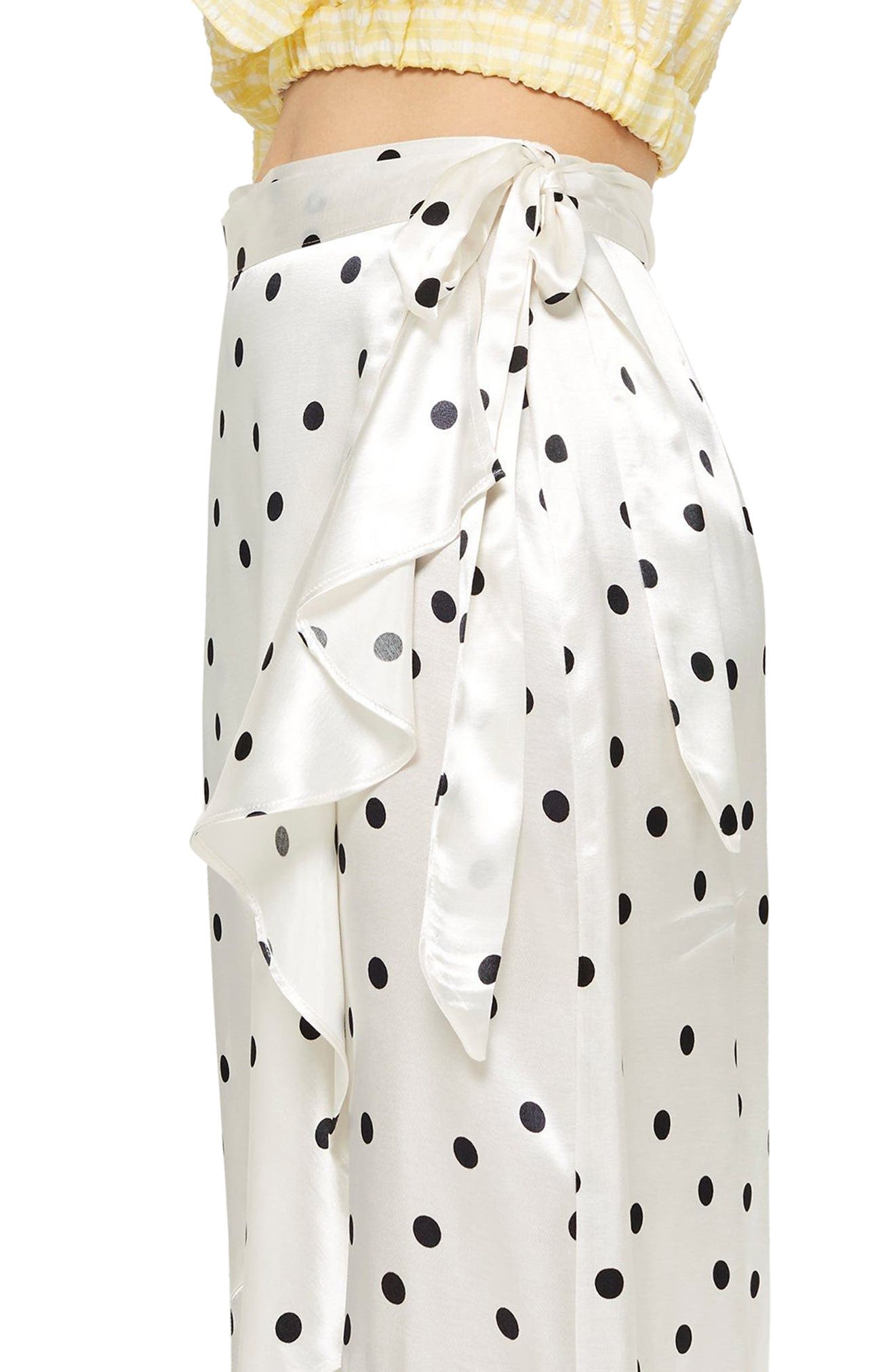 Satin Spot Ruffle Skirt,                             Alternate thumbnail 3, color,                             101