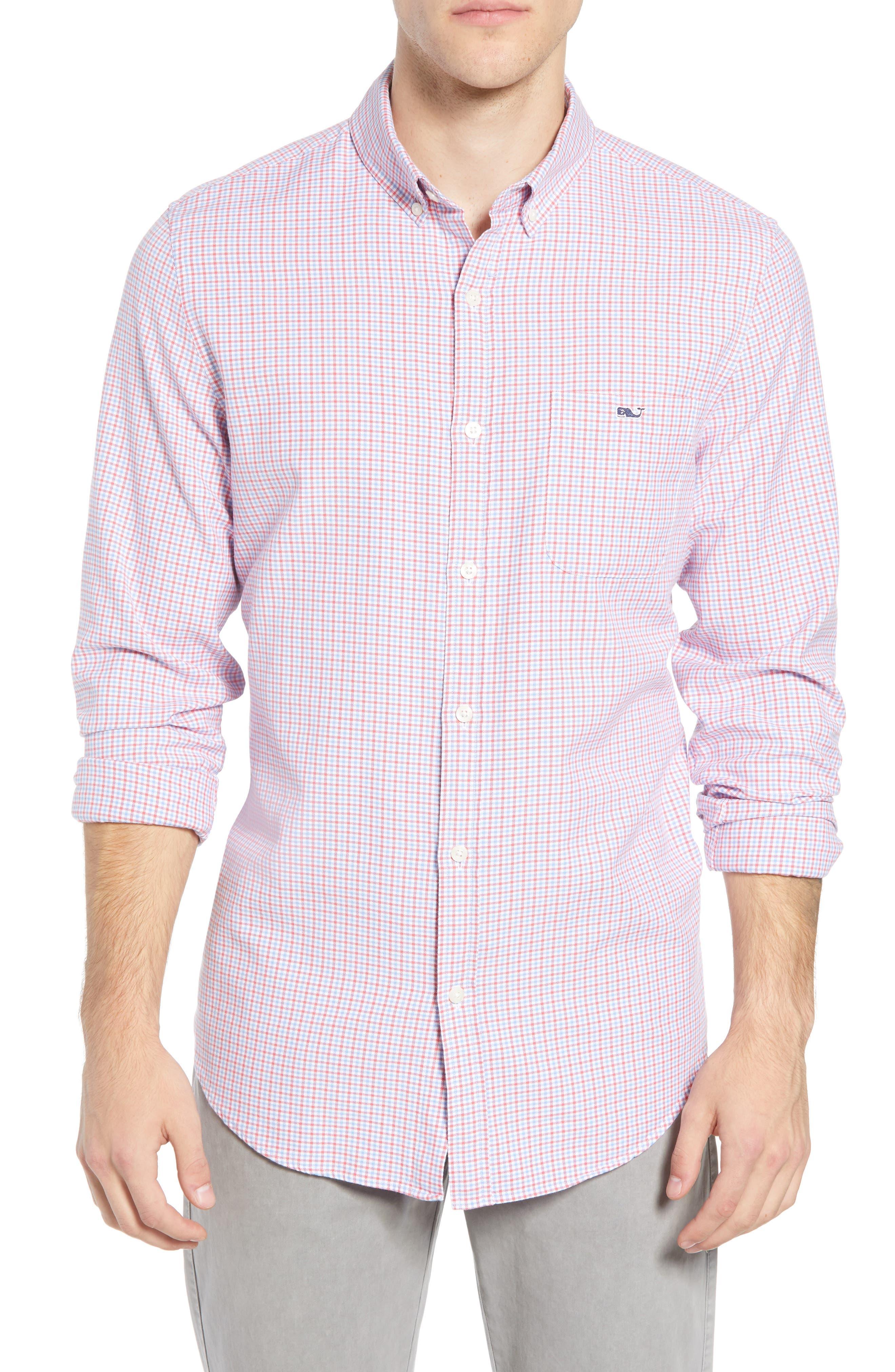 Slim Tucker 2 Check Sport Shirt,                         Main,                         color, SAILORS RED