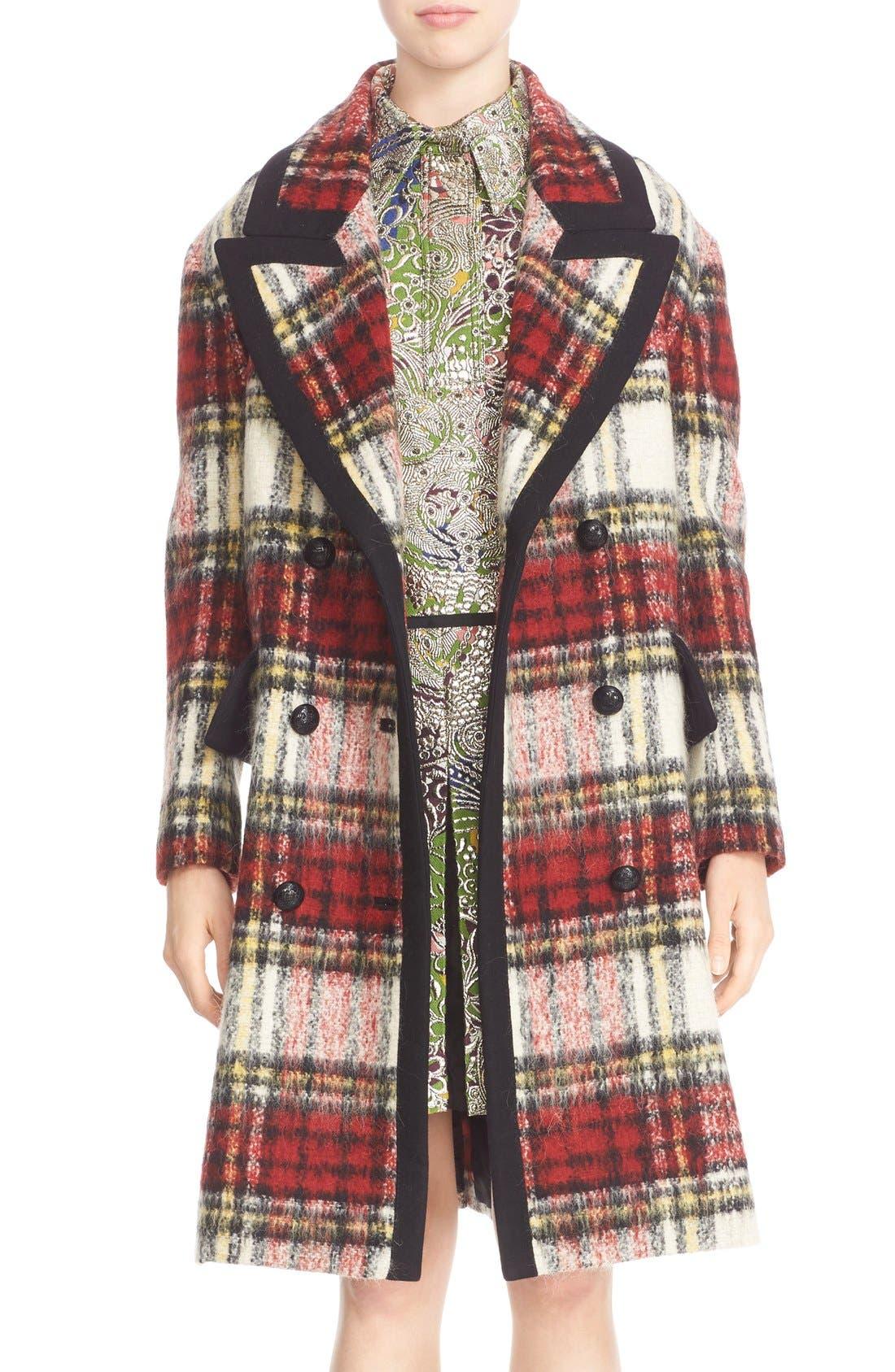 BURBERRY PRORSUM,                             Tartan Plaid Wool Blend Coat,                             Main thumbnail 1, color,                             930