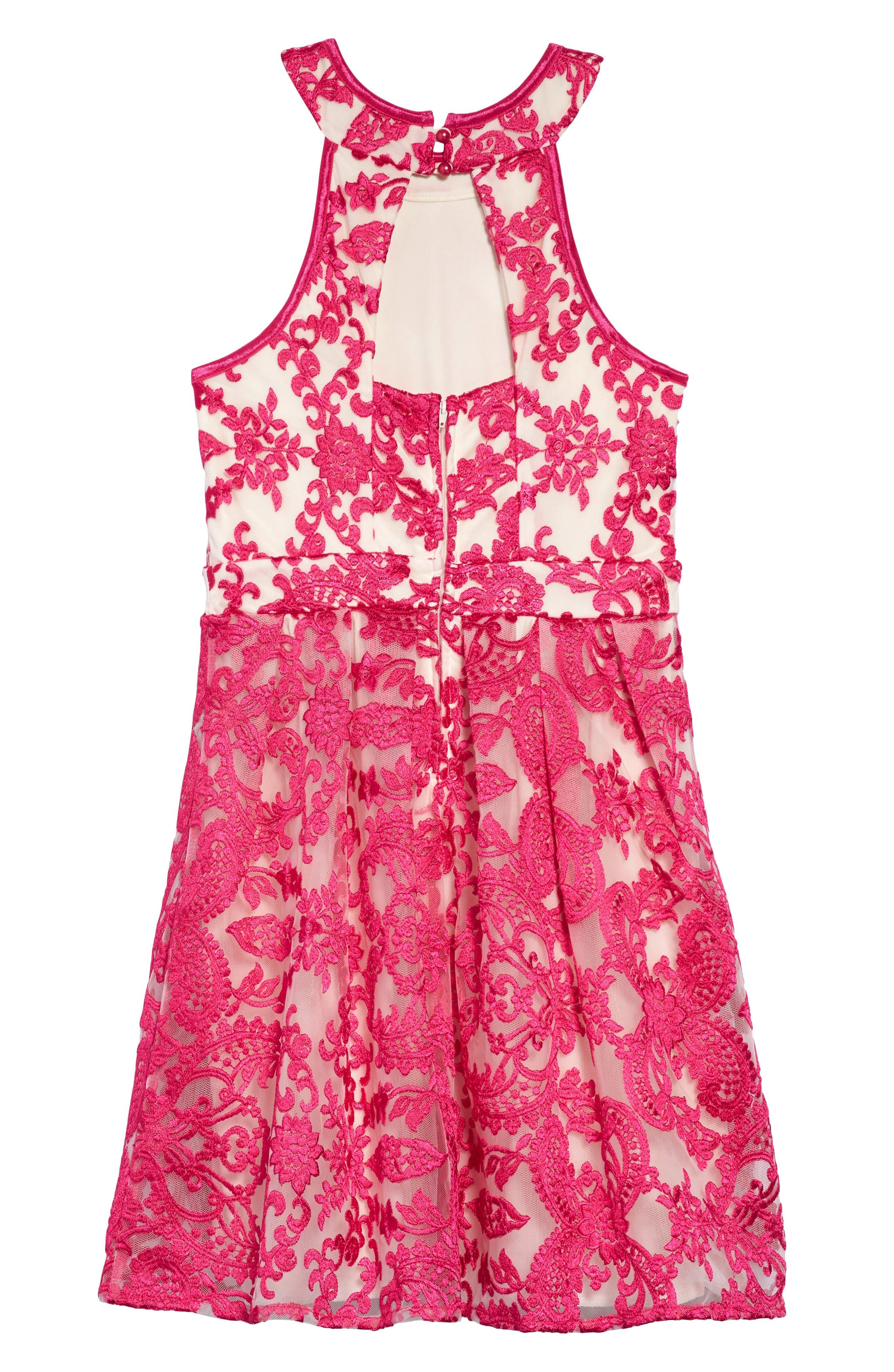 Floral Mesh Detail Dress,                             Alternate thumbnail 2, color,                             650