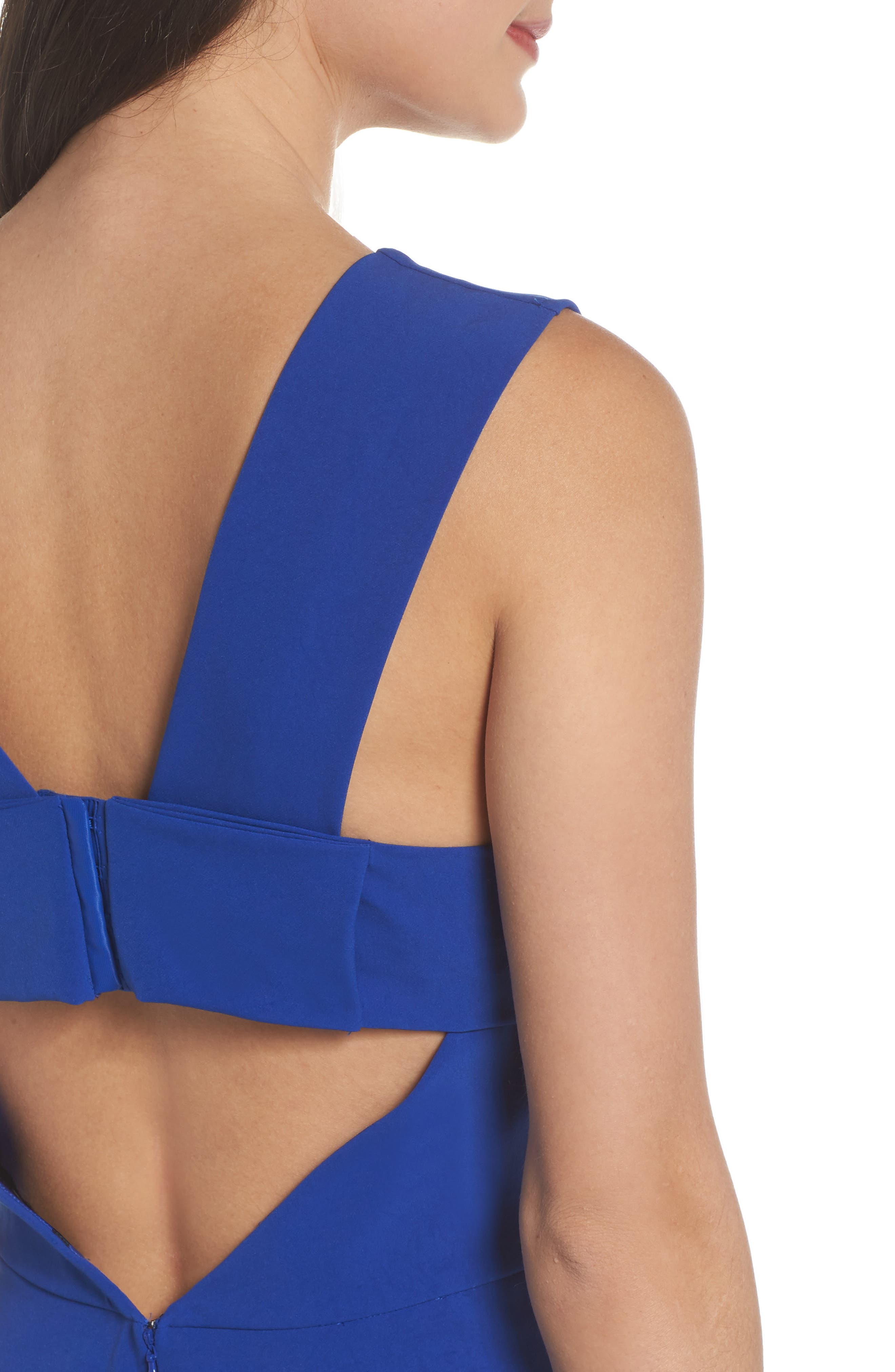 Bianca Back Cutout Fit & Flare Dress,                             Alternate thumbnail 6, color,                             COBALT