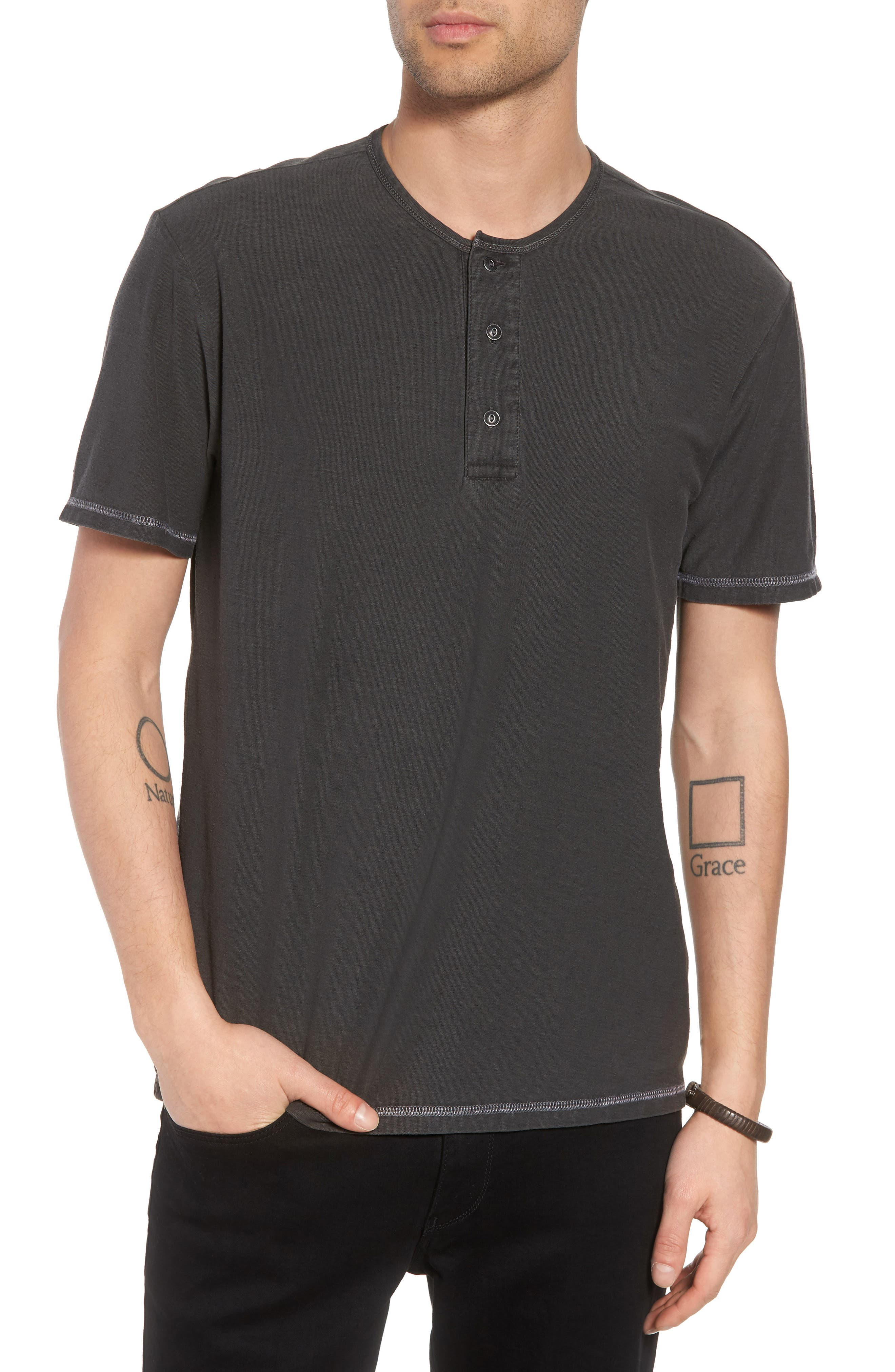 Short Sleeve Cotton Henley,                         Main,                         color, 001