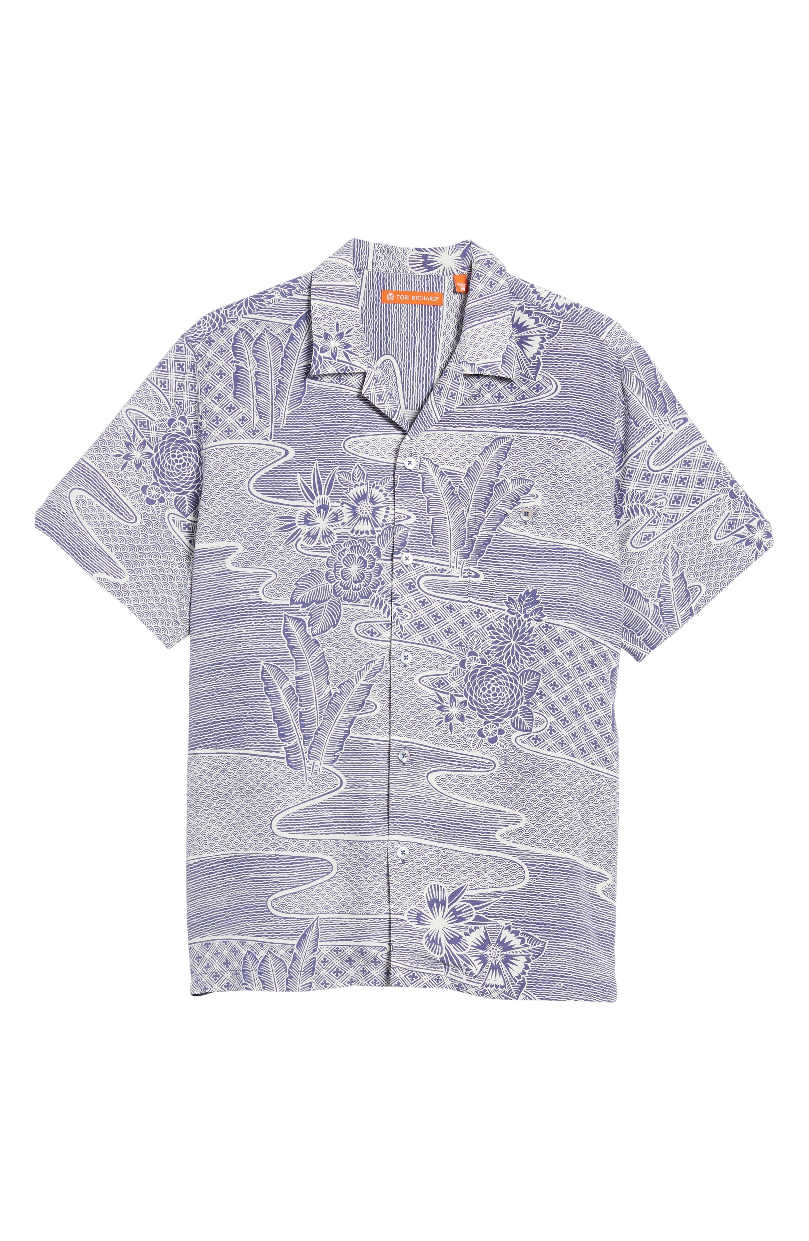 Zen Garden Trim Fit Silk Blend Camp Shirt,                             Alternate thumbnail 6, color,                             AMETHYST