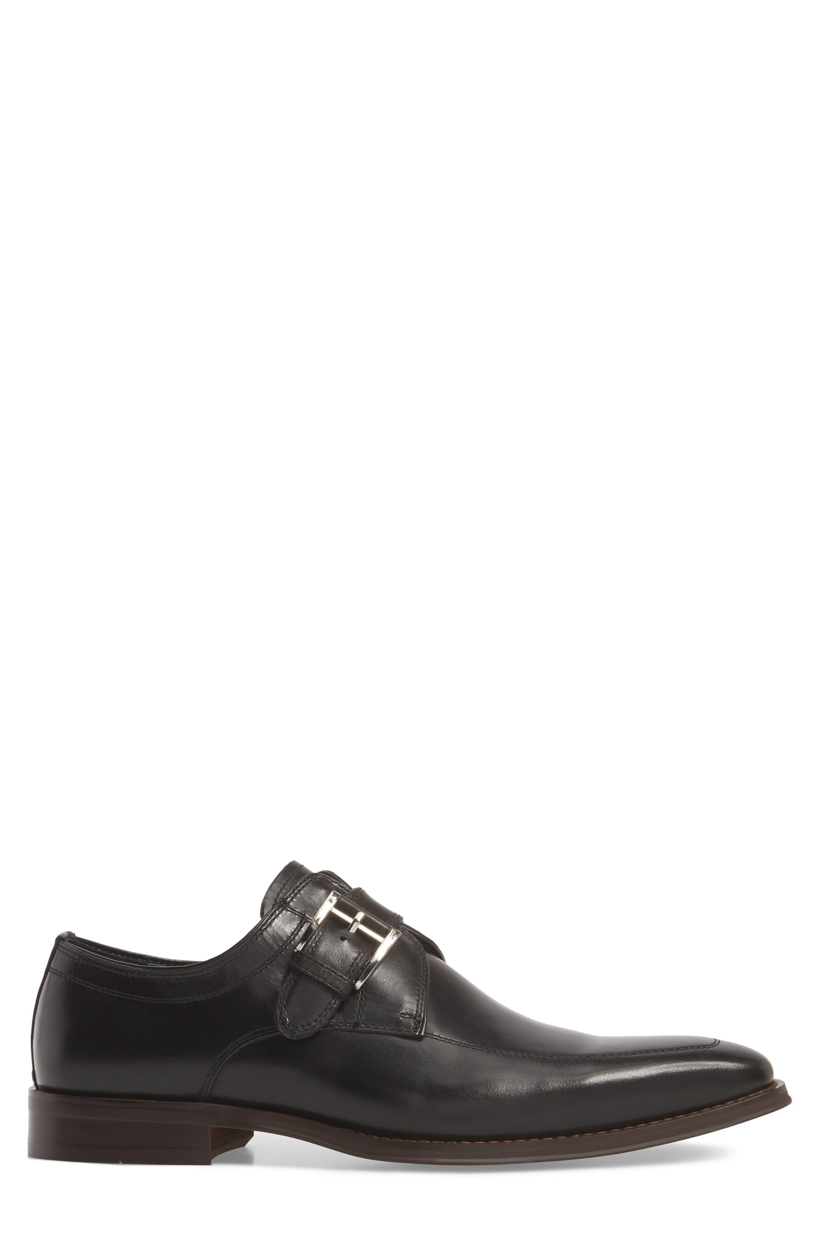 Merlot Single Buckle Monk Shoe,                             Alternate thumbnail 3, color,                             BLACK LEATHER