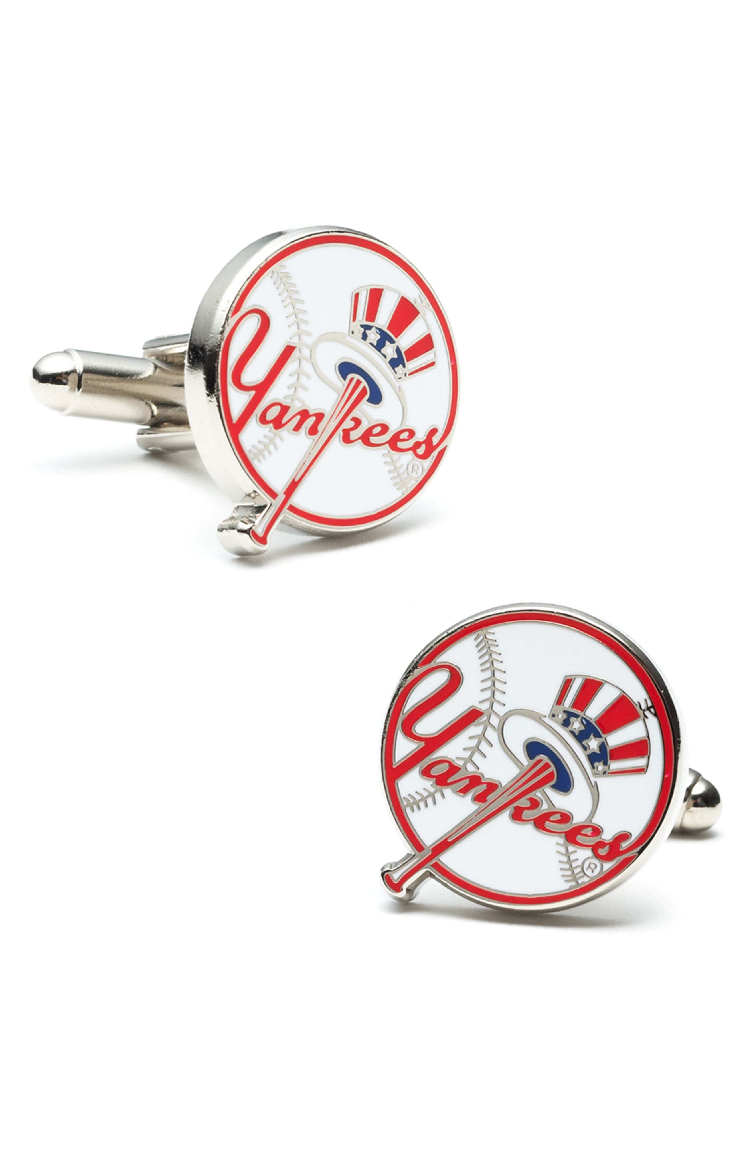 New York Yankees Cuff Links,                             Main thumbnail 1, color,                             WHITE