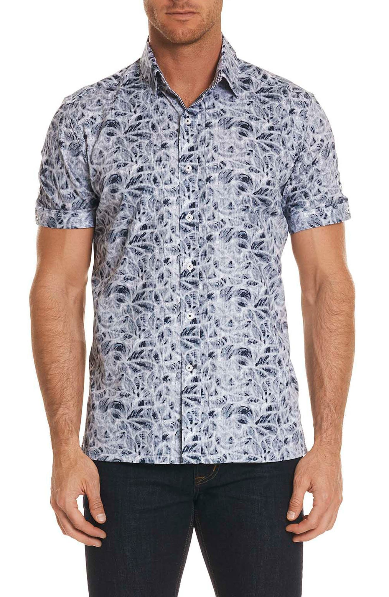 Booker Tailored Fit Print Sport Shirt,                             Main thumbnail 1, color,