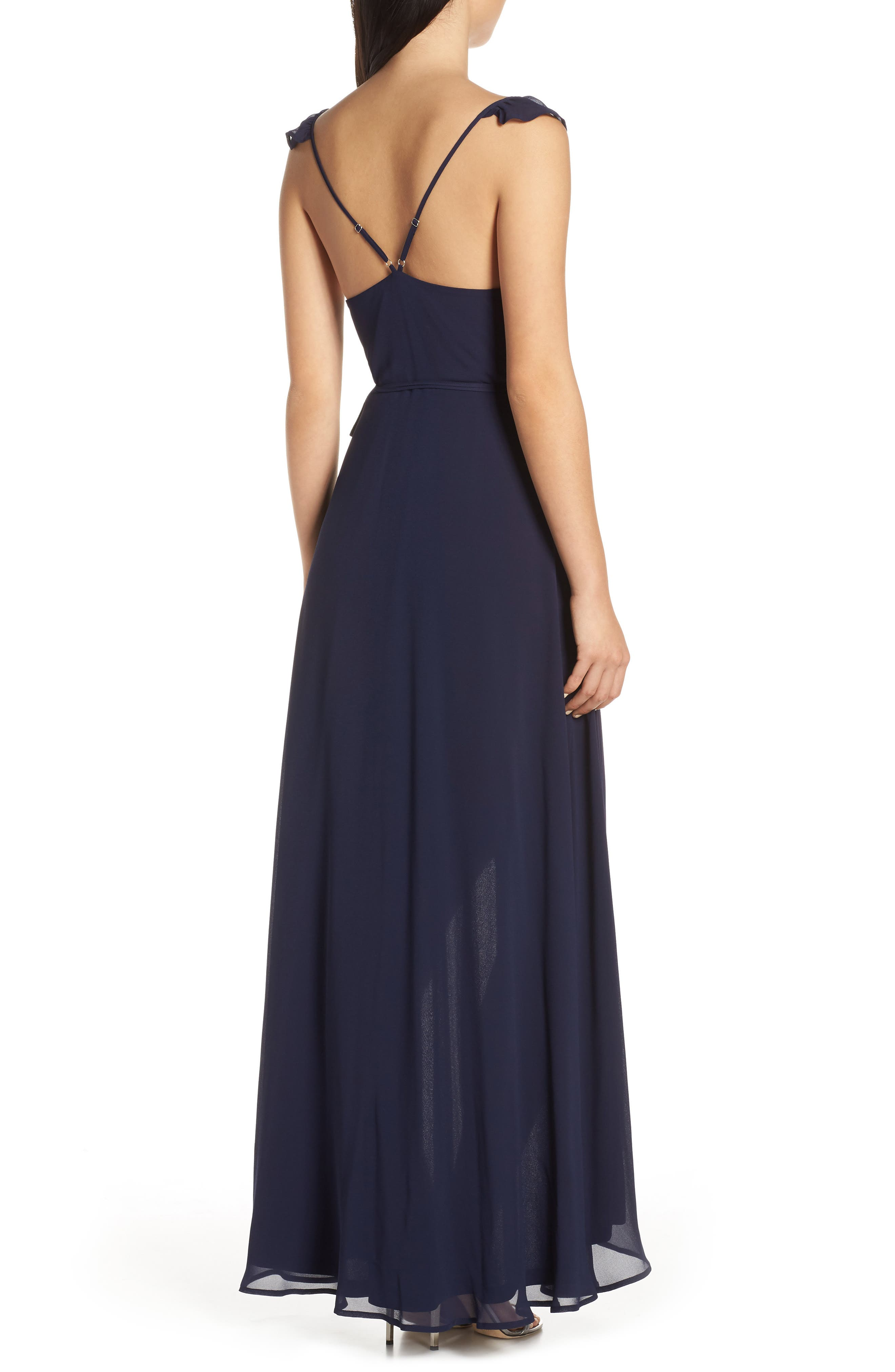 LULUS,                             Here's to Us High/Low Wrap Evening Dress,                             Alternate thumbnail 2, color,                             NAVY