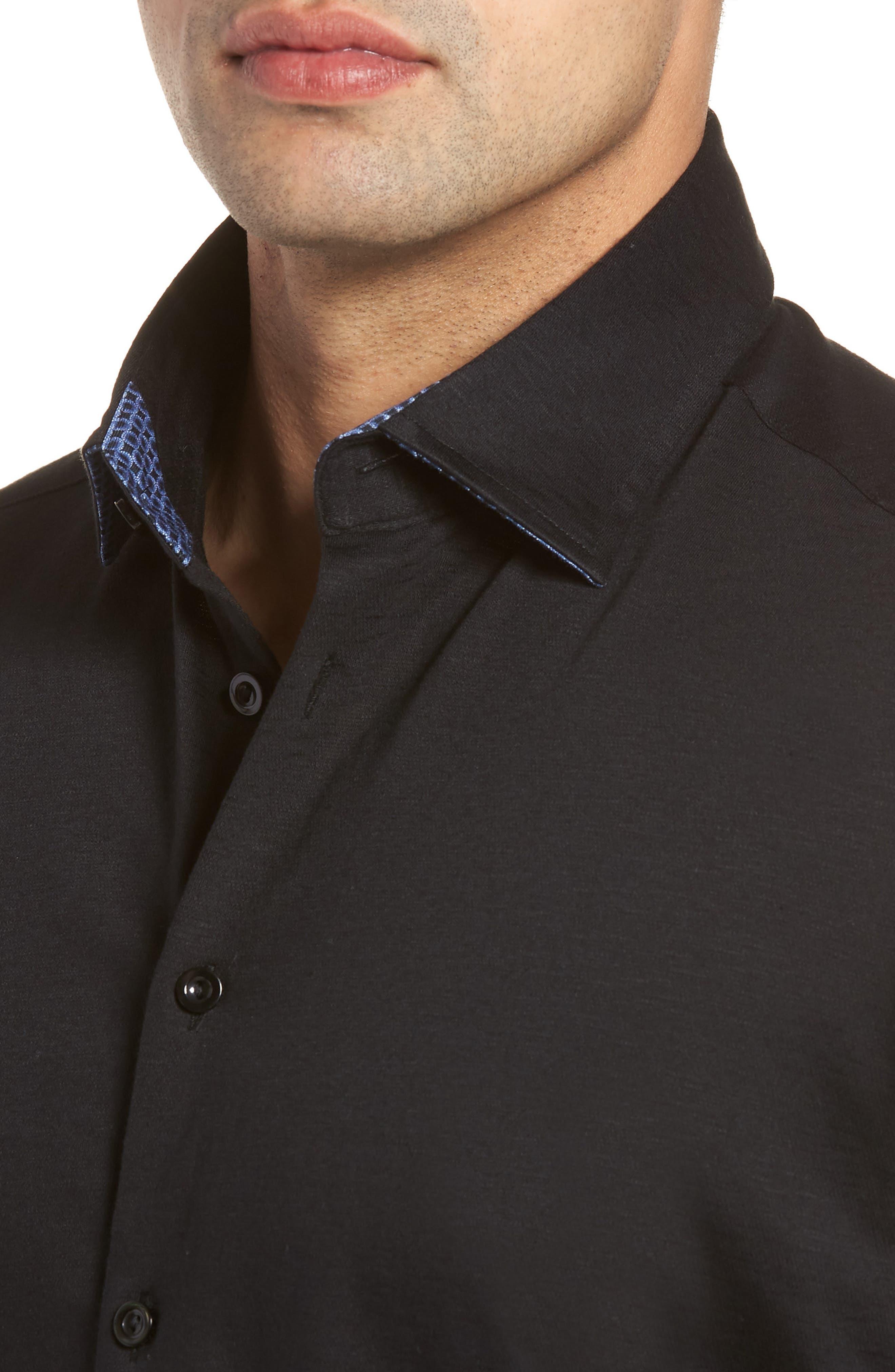Slim Fit Flame Knit Sport Shirt,                             Alternate thumbnail 2, color,                             BLACK