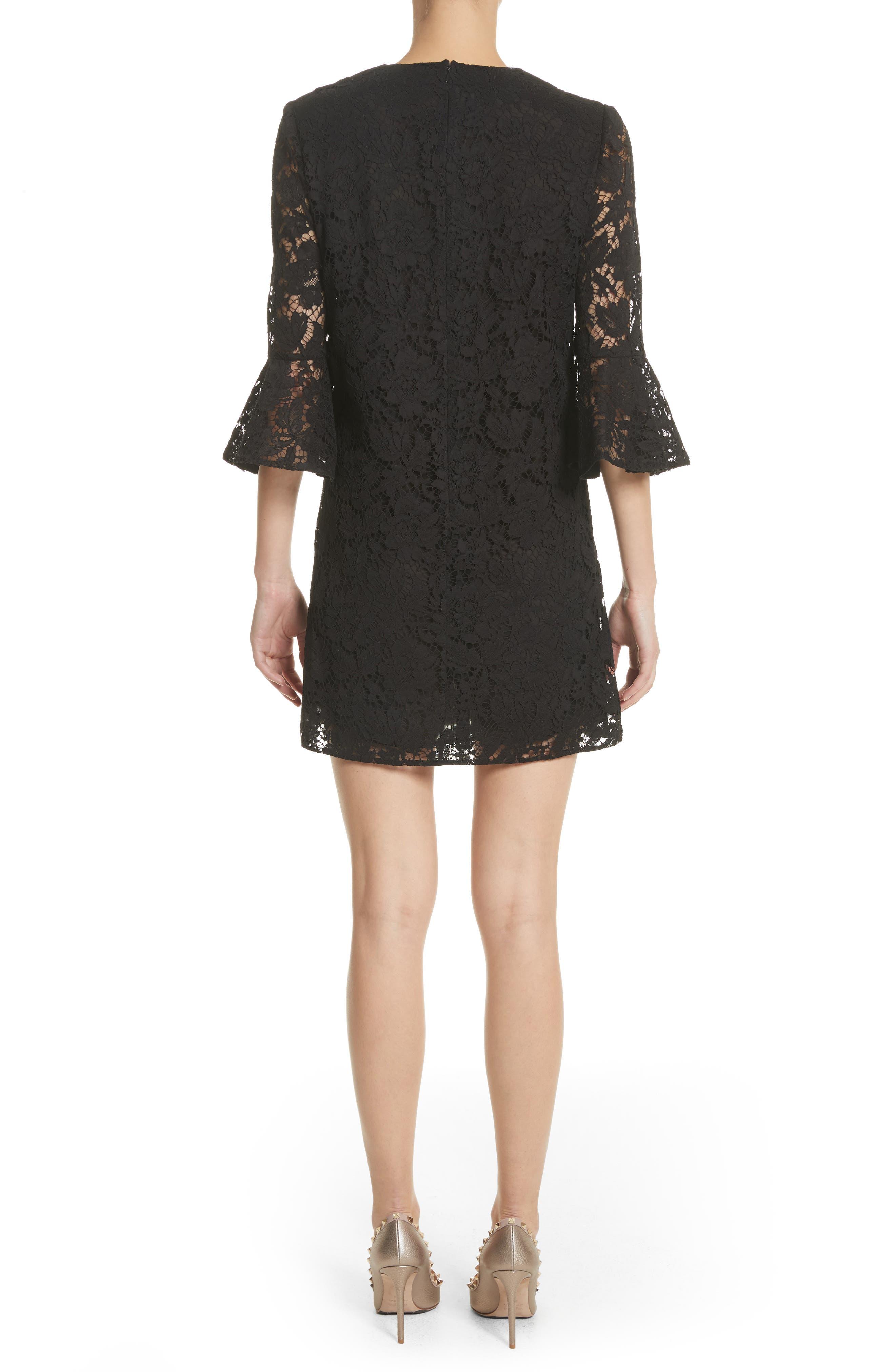 Lace Bell Sleeve Dress,                             Alternate thumbnail 2, color,                             BLACK