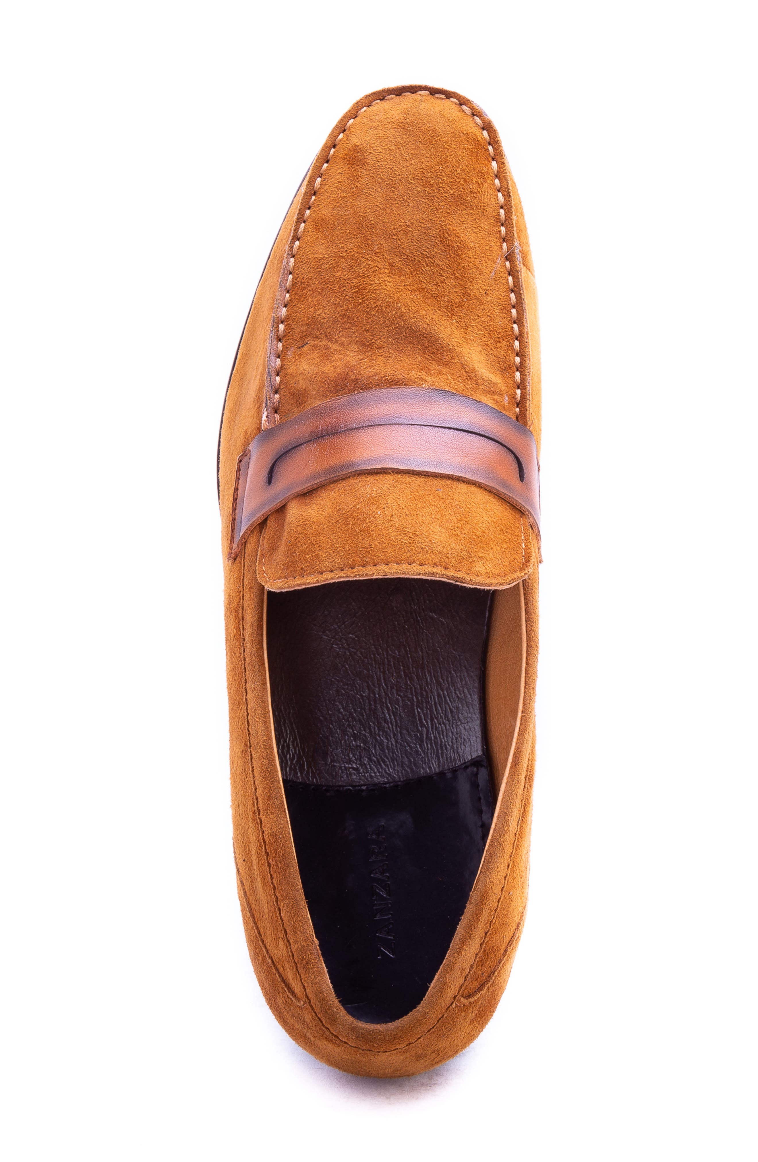 Opie Penny Loafer,                             Alternate thumbnail 5, color,                             COGNAC SUEDE/ LEATHER