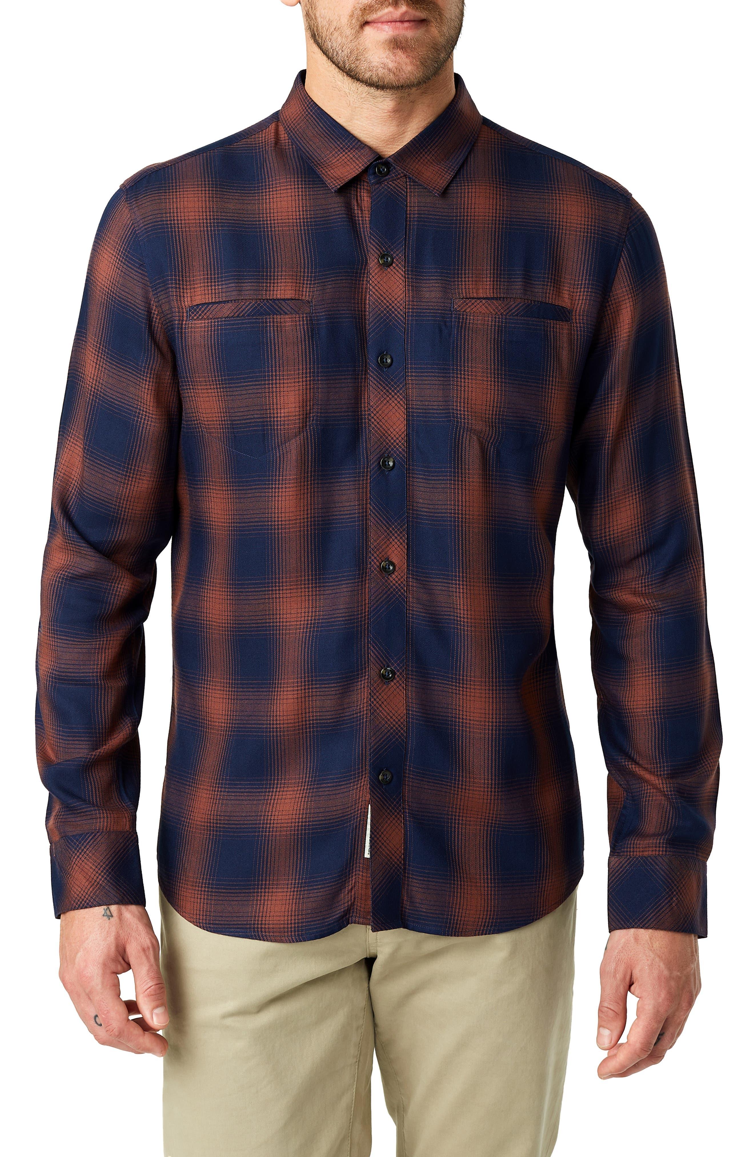 Ewan Trim Fit Flannel Shirt,                             Main thumbnail 1, color,                             NAVY CHESTNUT