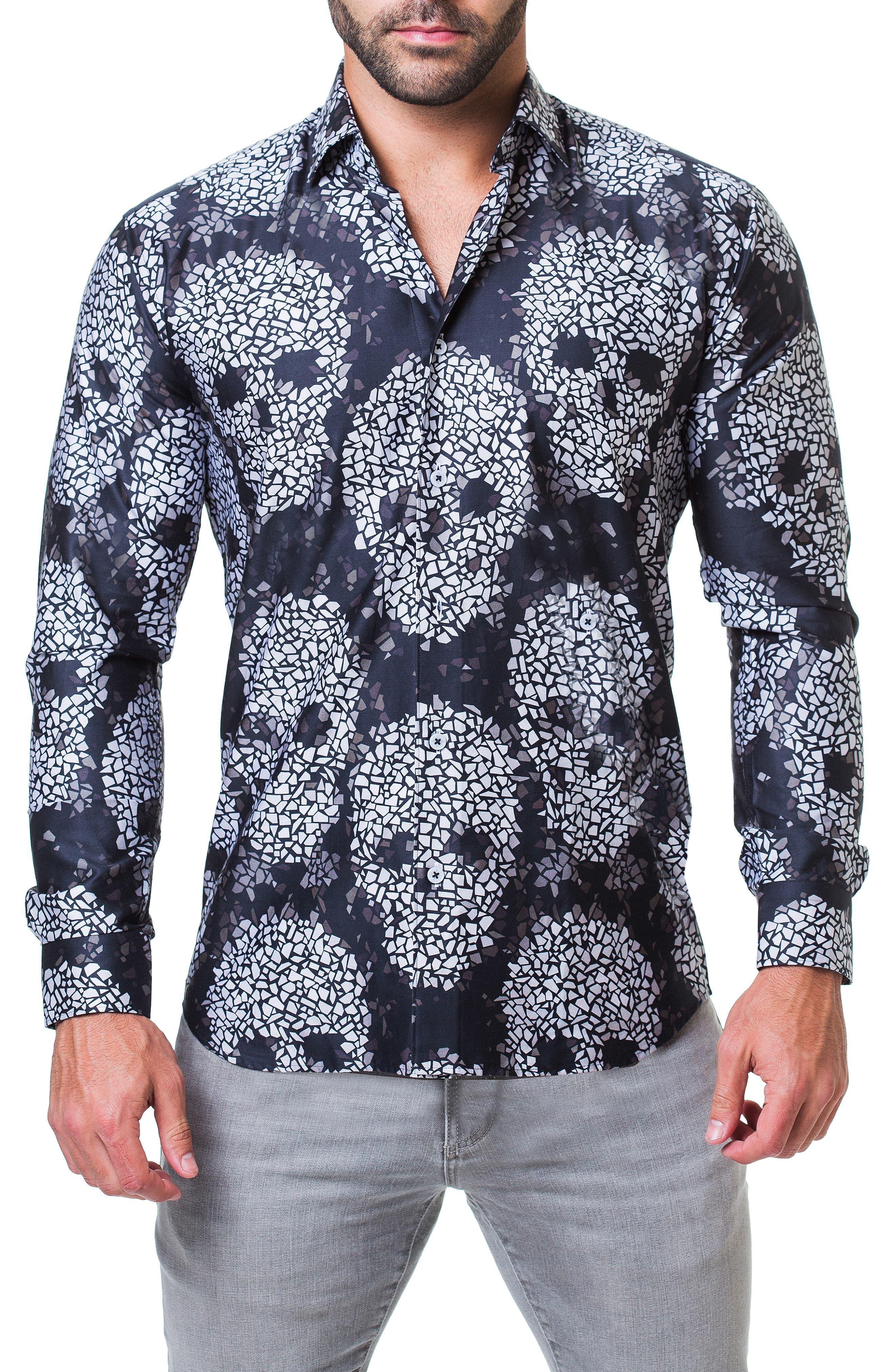Fibonacci Head Trim Fit Sport Shirt,                         Main,                         color, BLACK