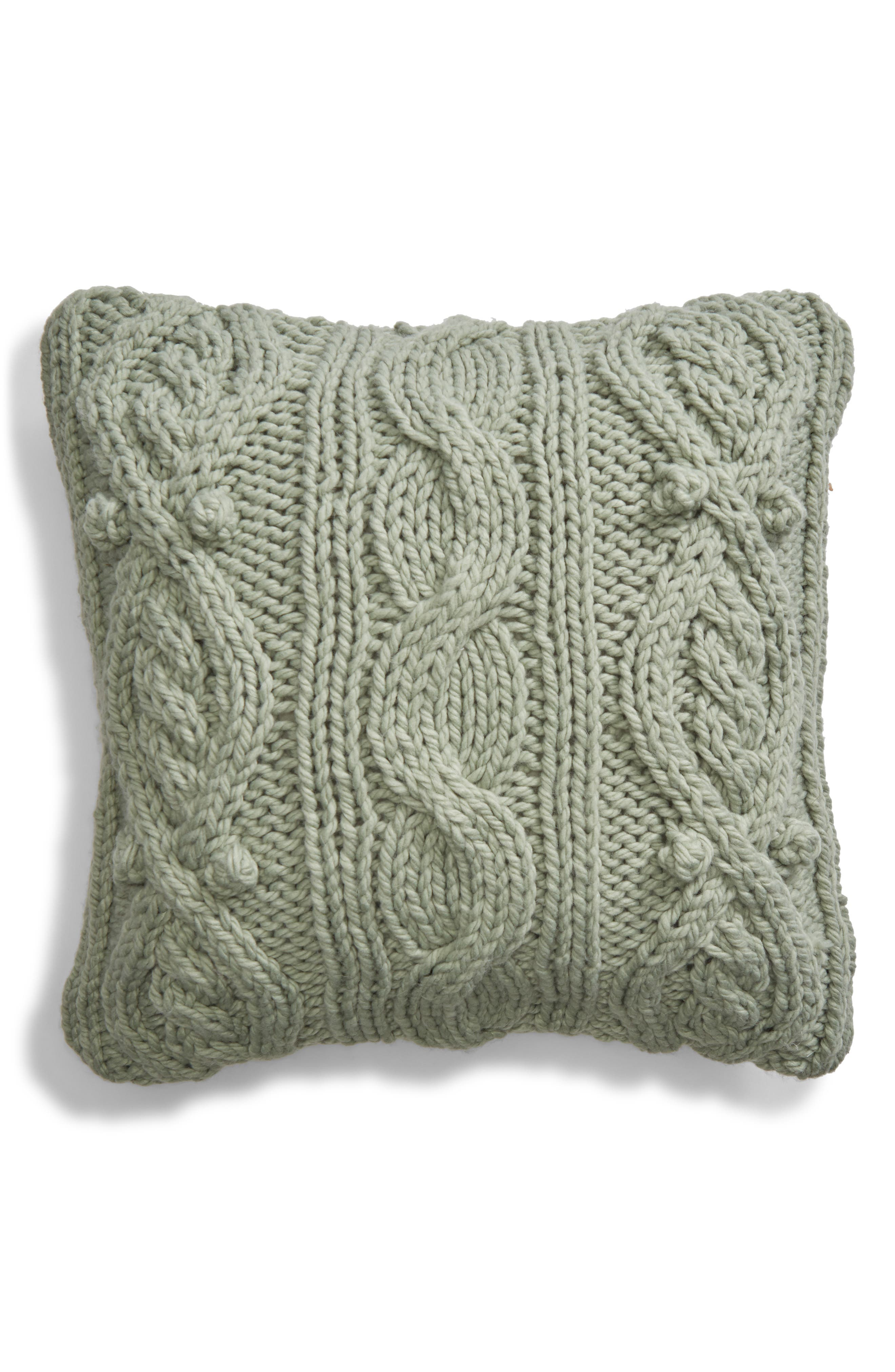 Chunky Cable Knit Accent Pillow,                             Main thumbnail 1, color,                             GREEN ICEBERG