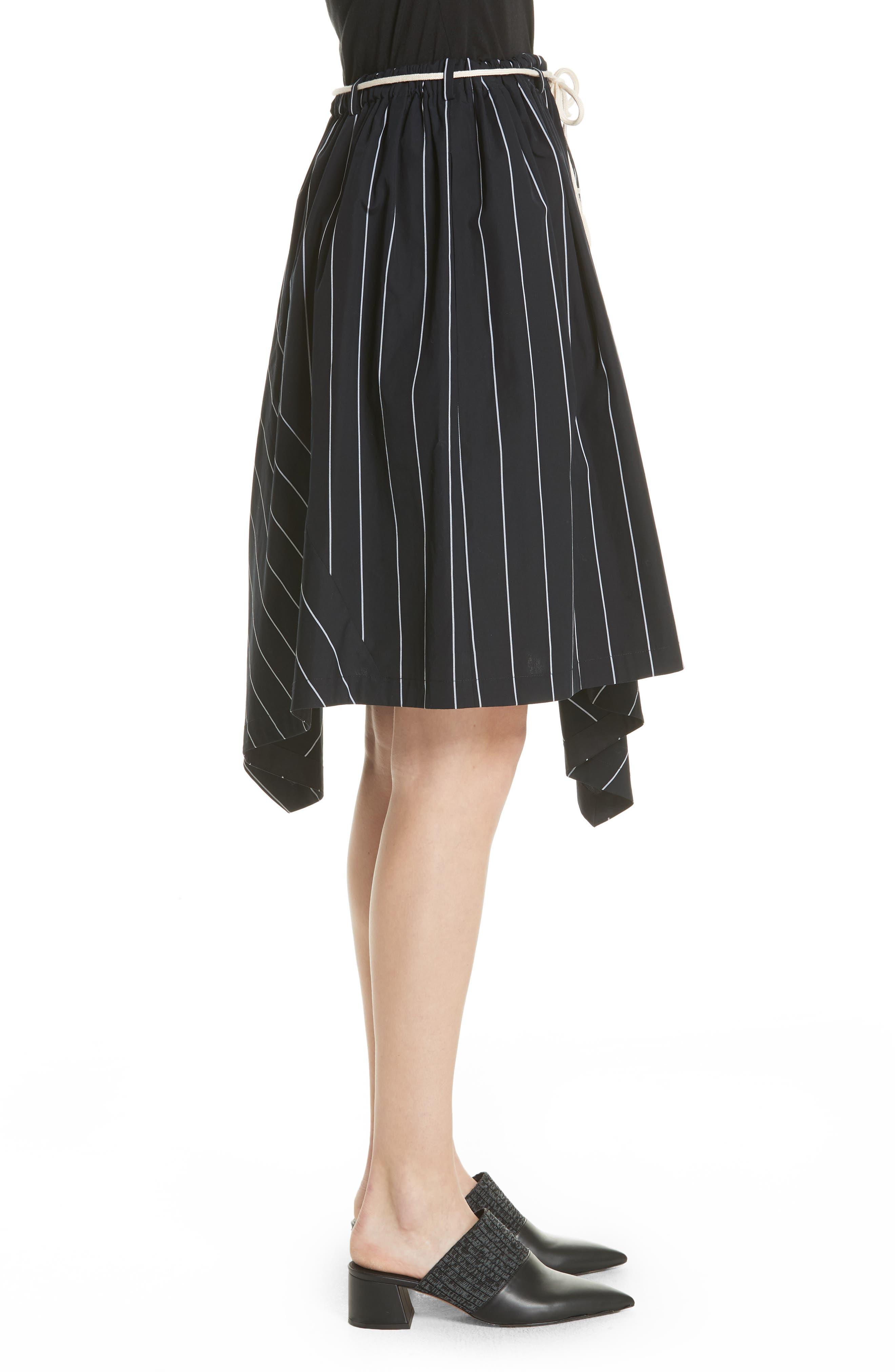 Skinny Stripe Asymmetrical Cotton Skirt,                             Alternate thumbnail 3, color,                             435
