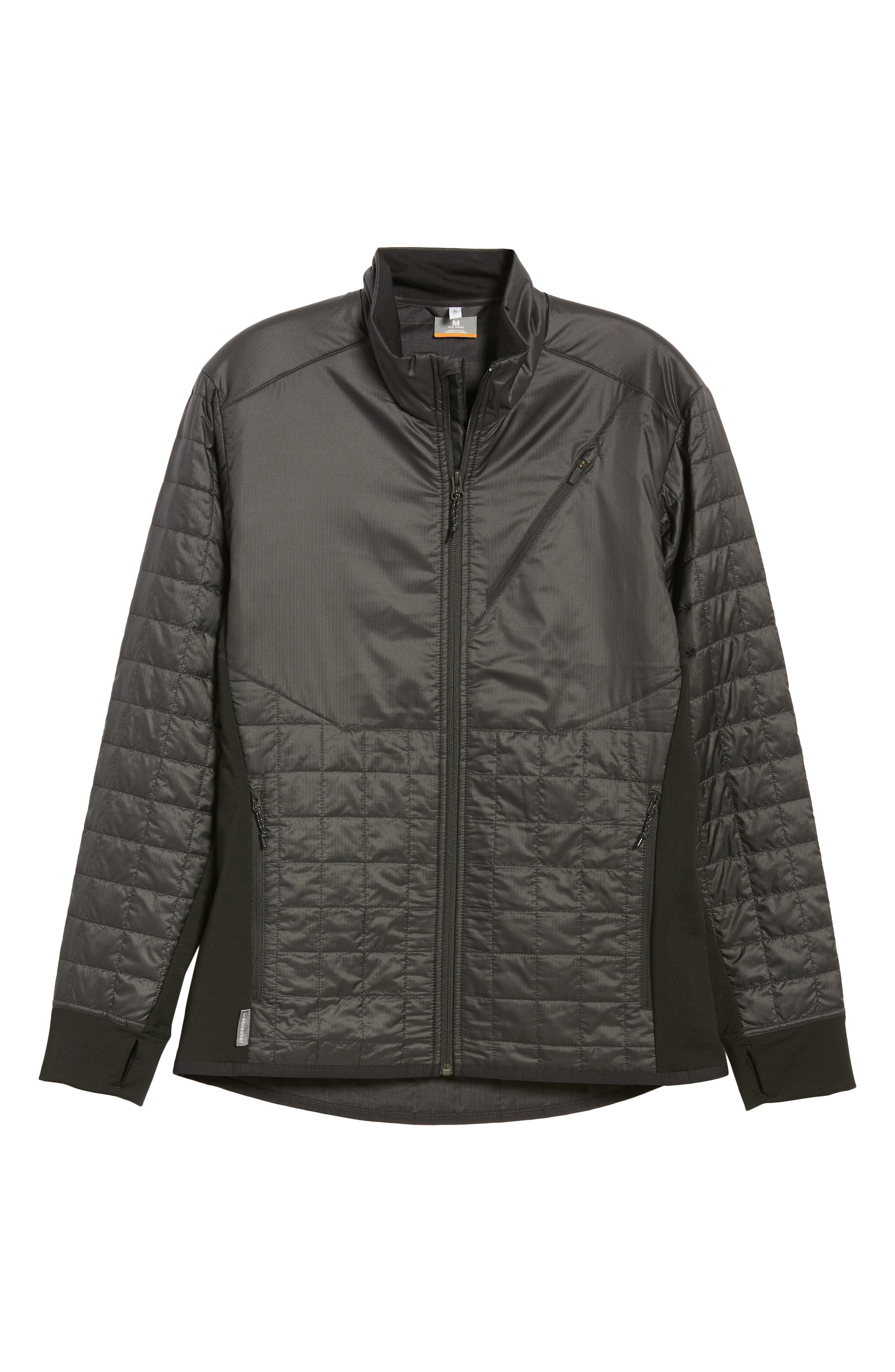 MerinoLOFT<sup>™</sup> Helix Midlayer Zip Jacket,                             Alternate thumbnail 6, color,                             BLACK/ JET HEATHER