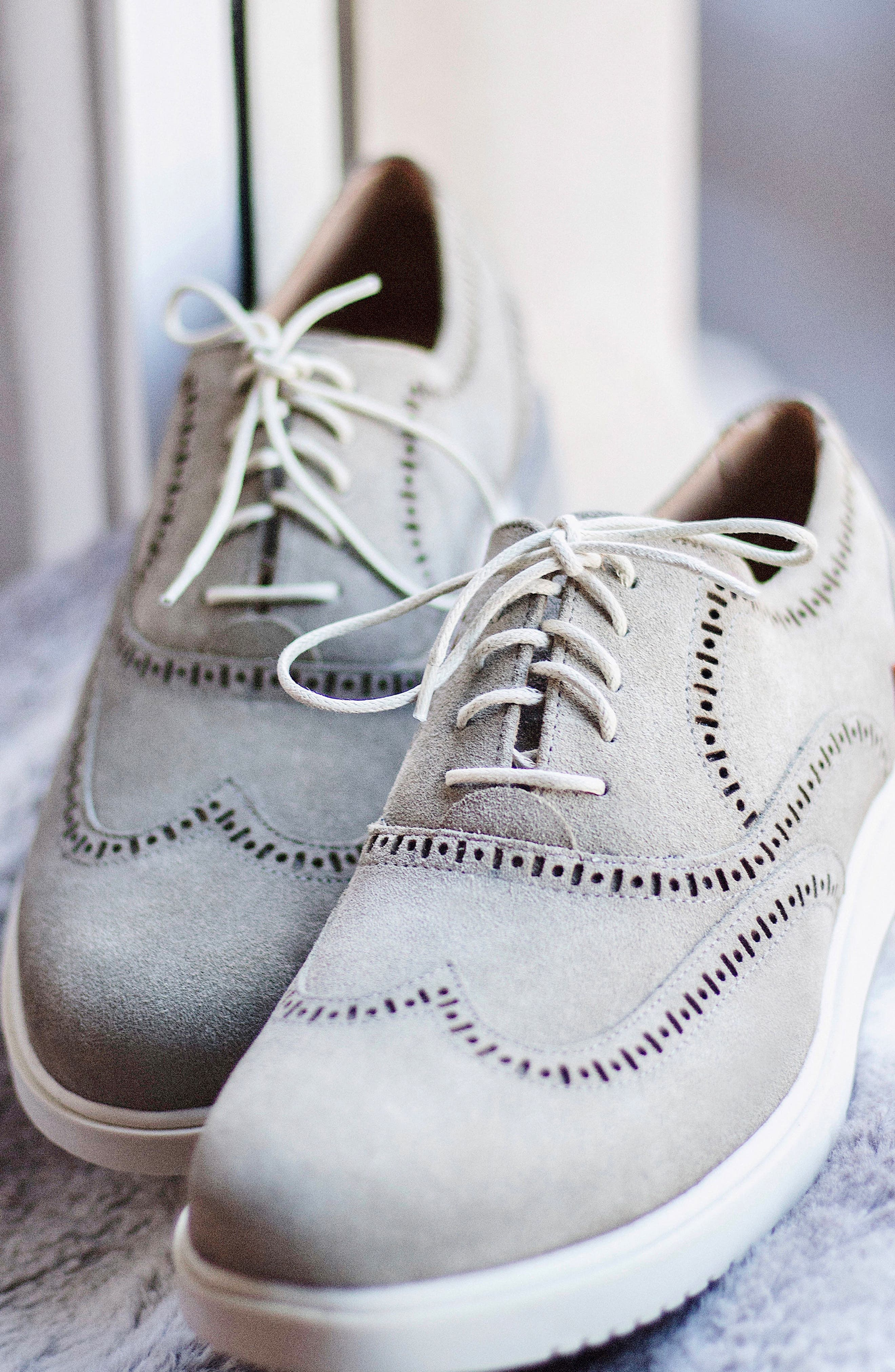 5th Ave Wingtip Sneaker,                             Alternate thumbnail 7, color,                             GREY SUEDE