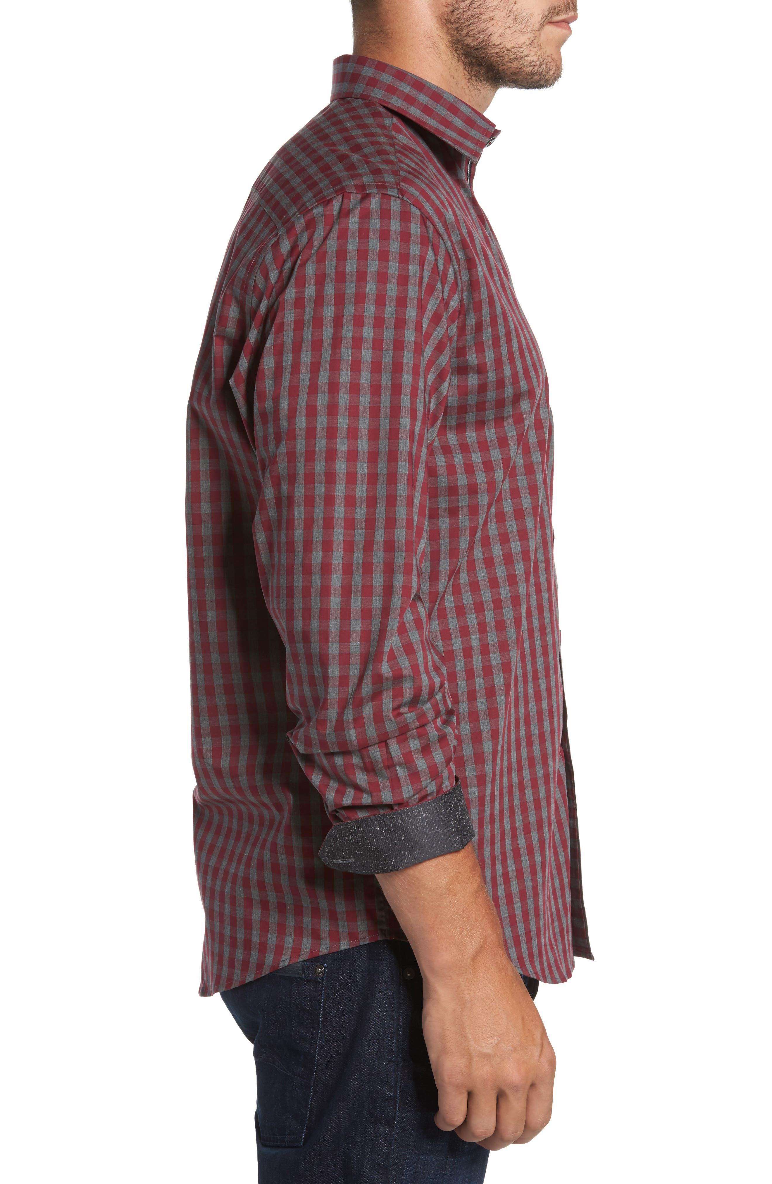 Classic Fit Check Sport Shirt,                             Alternate thumbnail 3, color,                             612