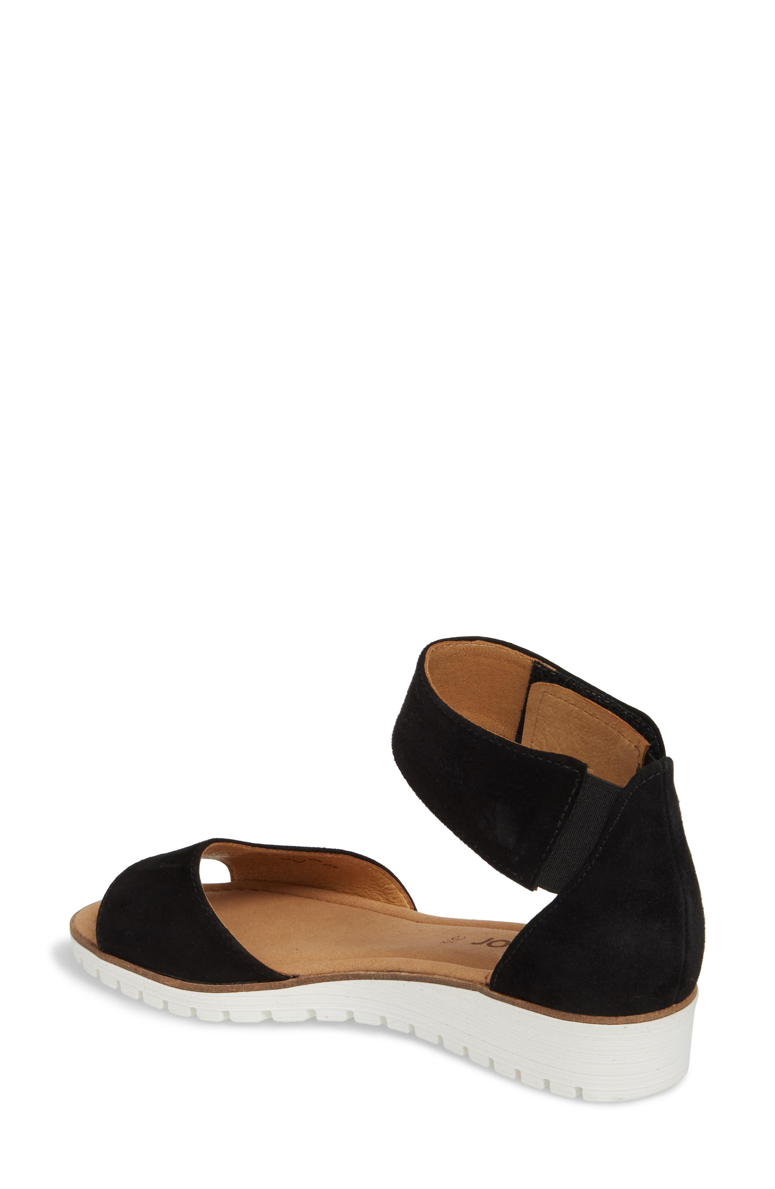 Ankle Strap Sandal,                             Alternate thumbnail 2, color,                             BLACK SUEDE
