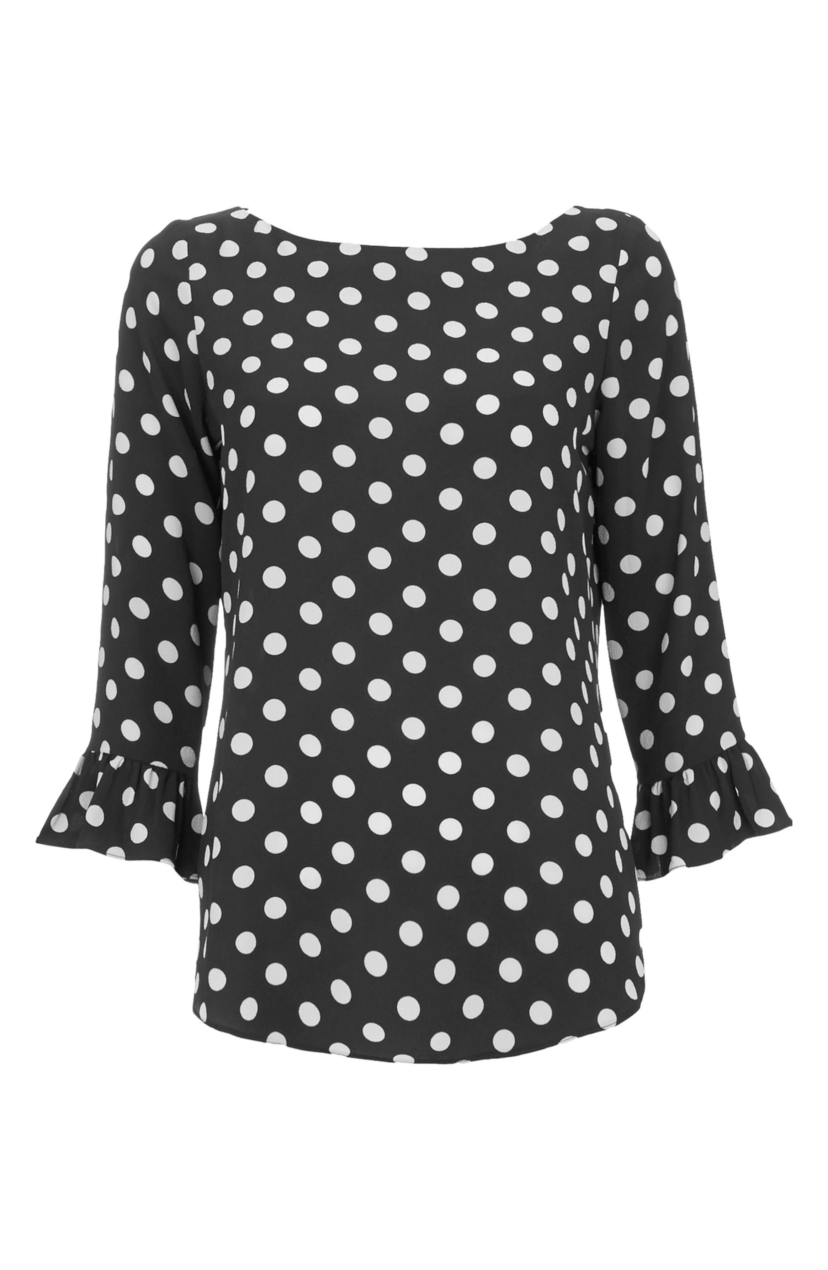Flute Sleeve Polka Dot Top,                             Alternate thumbnail 4, color,                             001