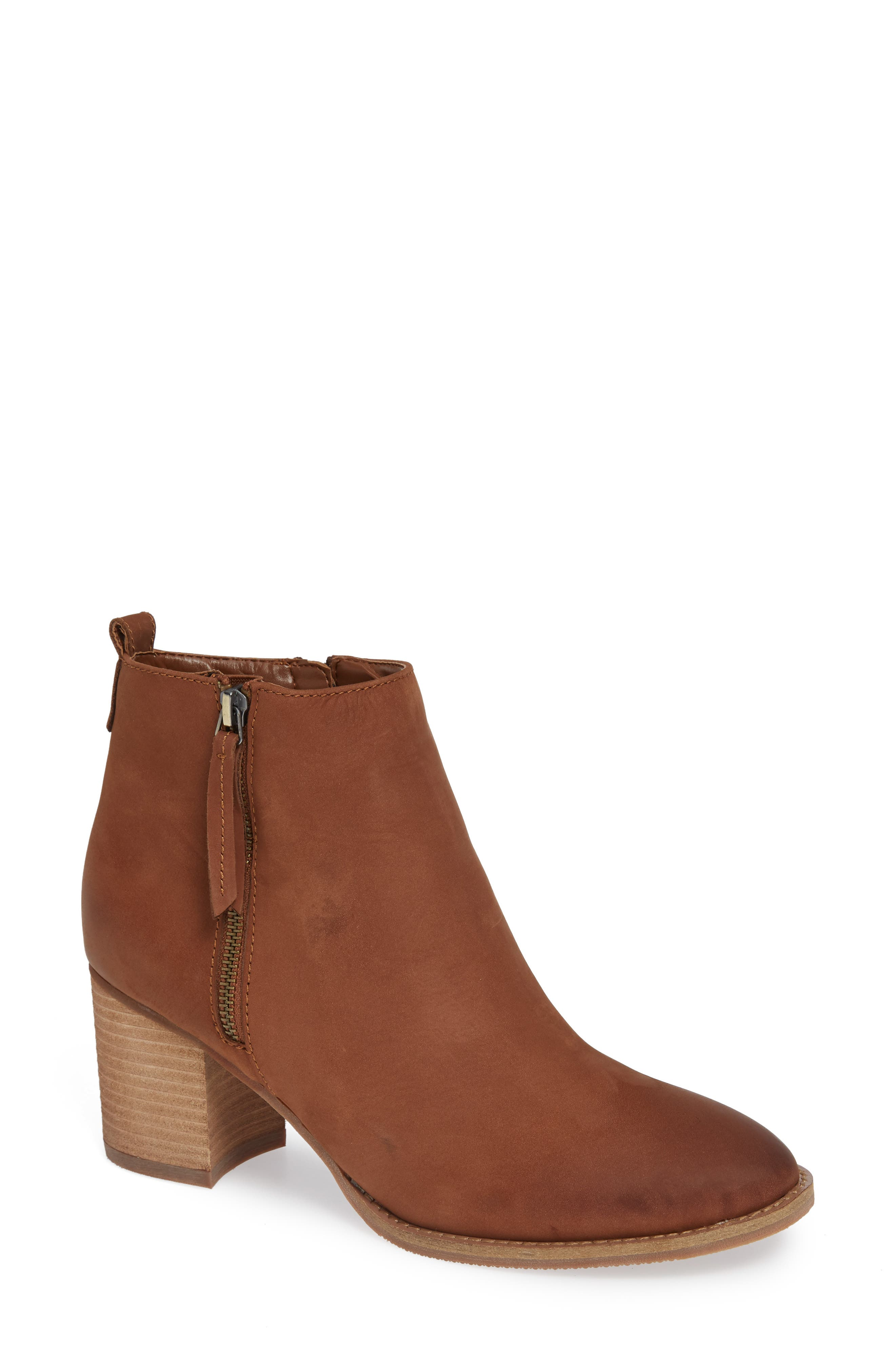 Nova Waterproof Bootie,                             Main thumbnail 1, color,                             COGNAC NUBUCK