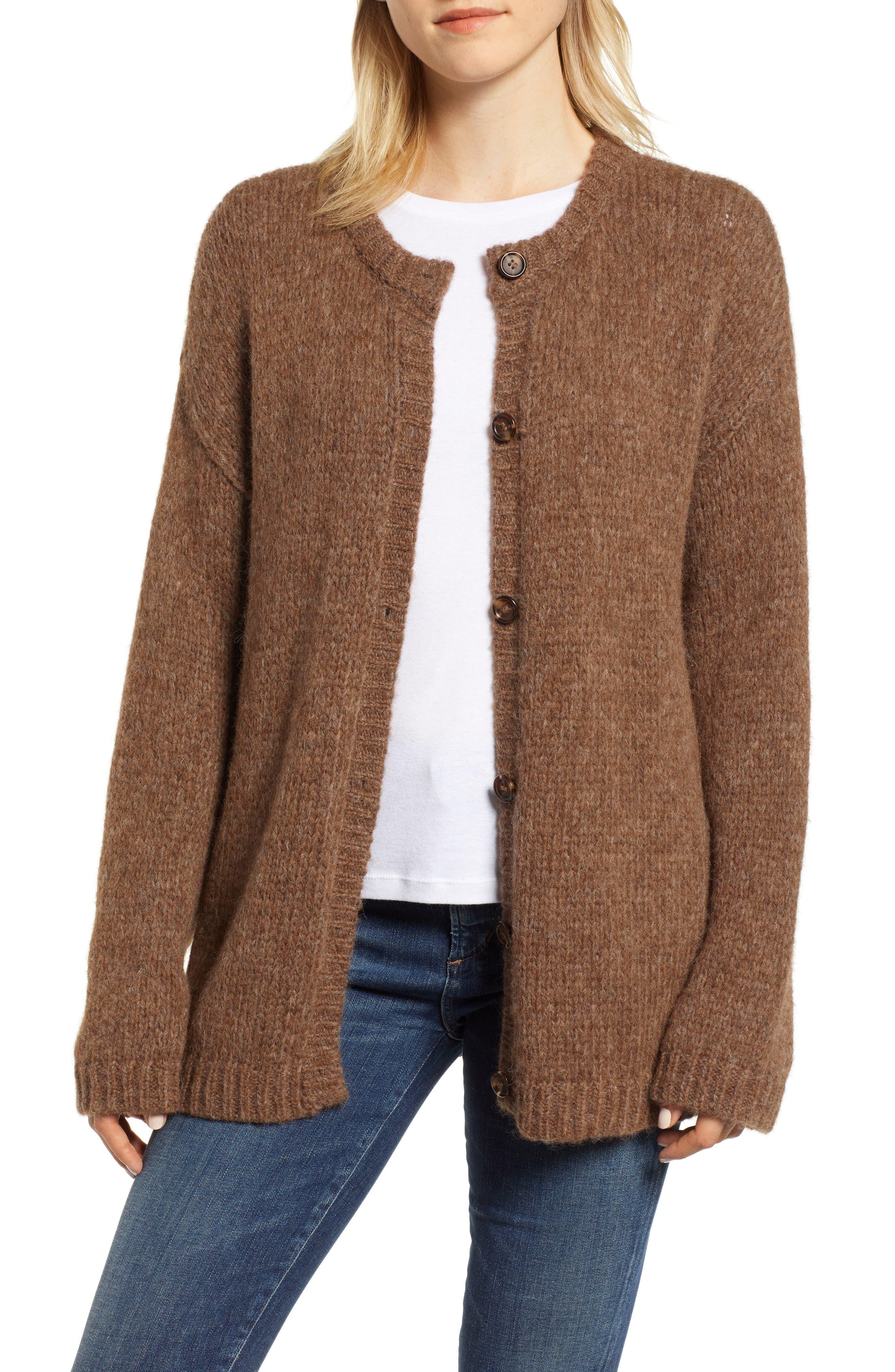 Alpaca Wool Blend Cardigan,                         Main,                         color, CHOCOLATE