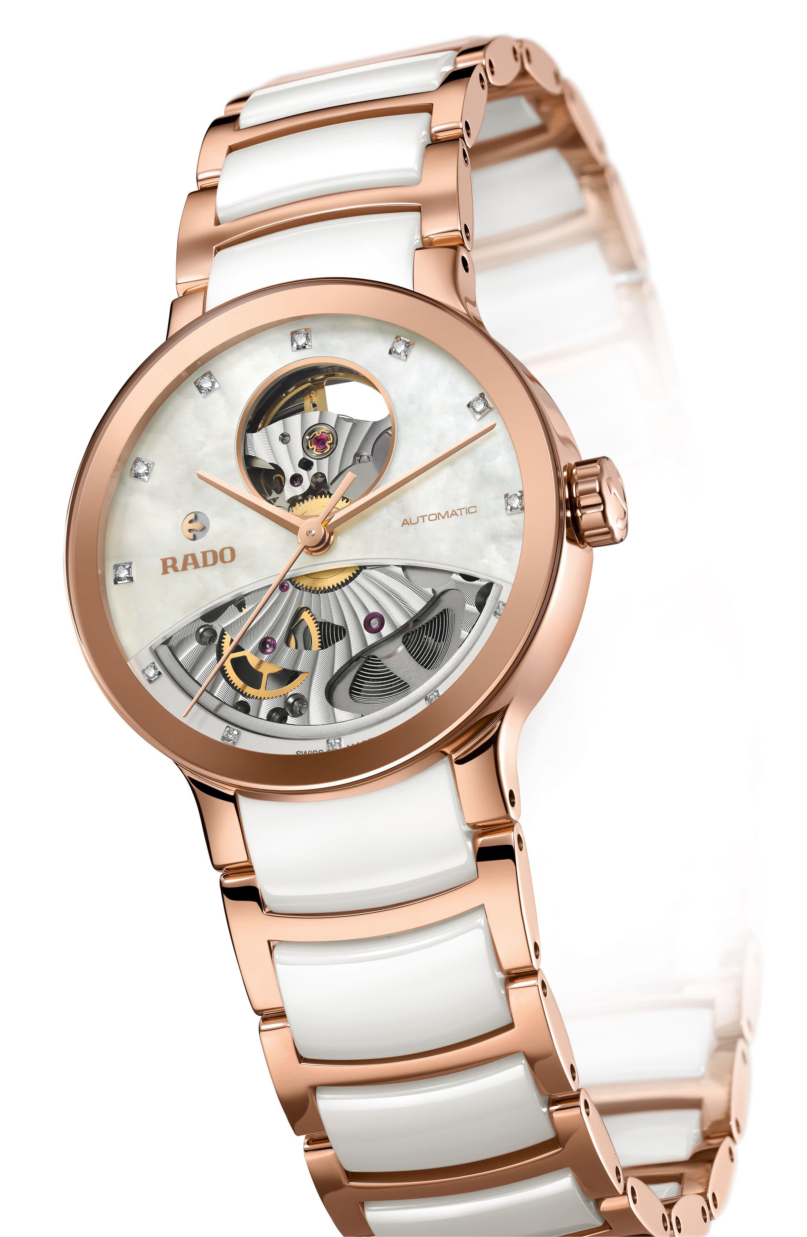 RADO,                             Centrix Open Heart Automatic Diamond Ceramic Bracelet Watch, 33mm,                             Alternate thumbnail 5, color,                             WHITE/ MOP/ ROSE GOLD