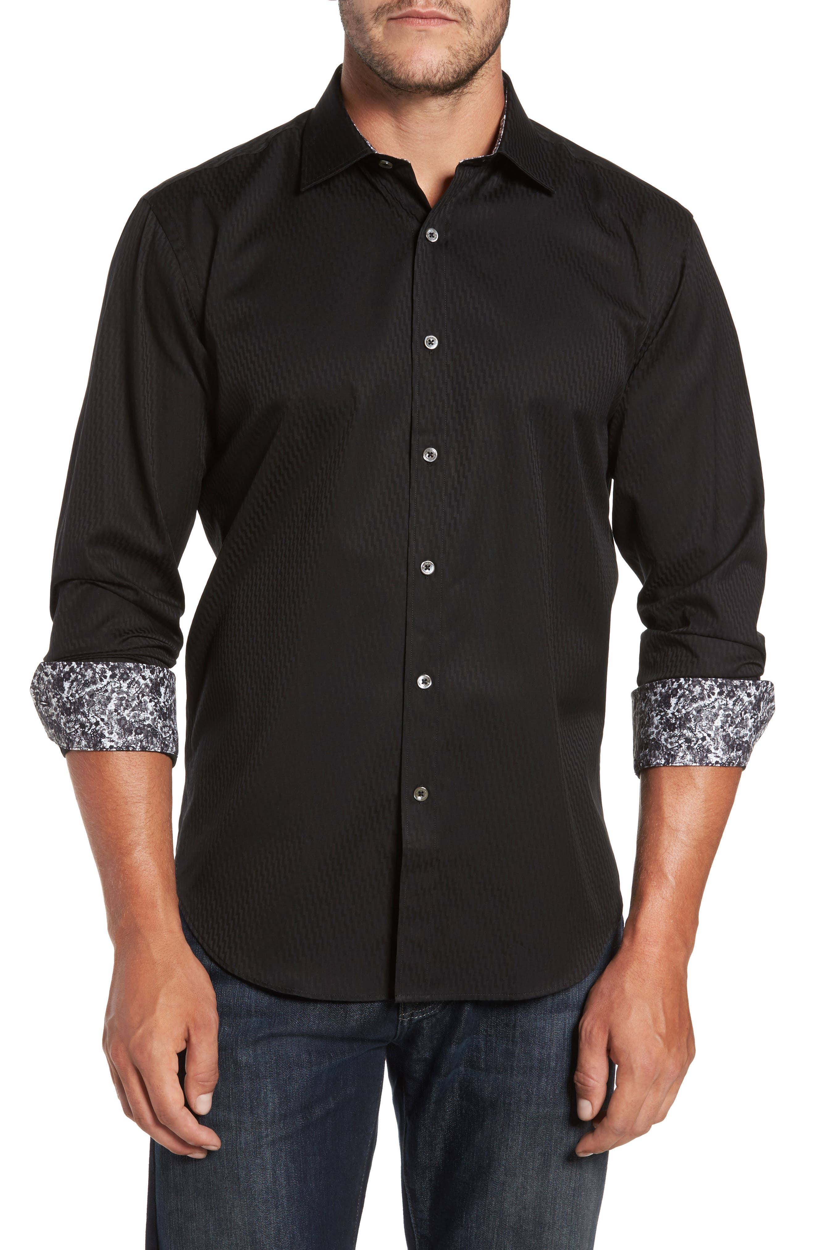 Shaped Fit Print Sport Shirt,                             Main thumbnail 1, color,                             001