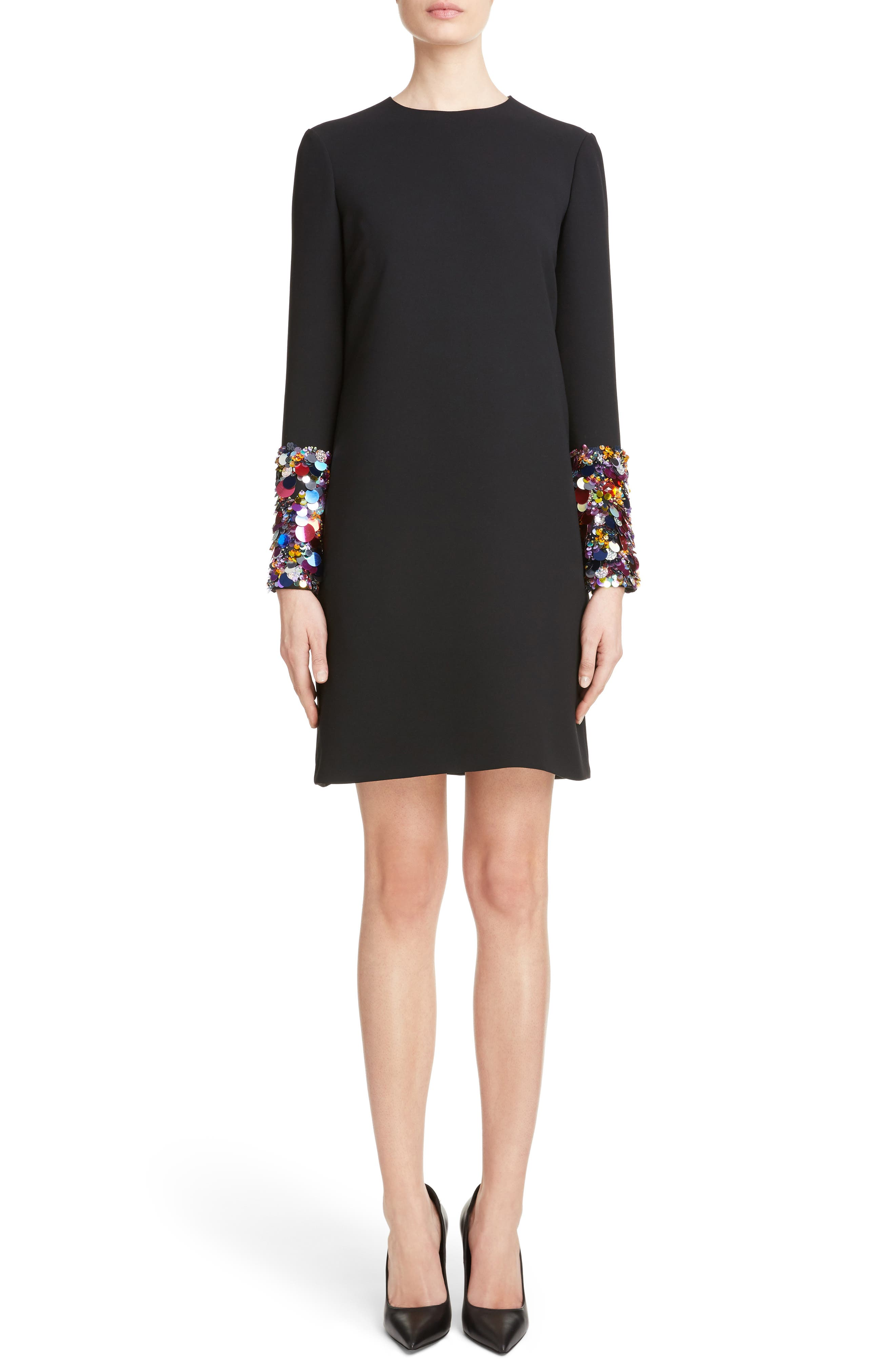 Embellished Cuff Shift Dress,                         Main,                         color, 001