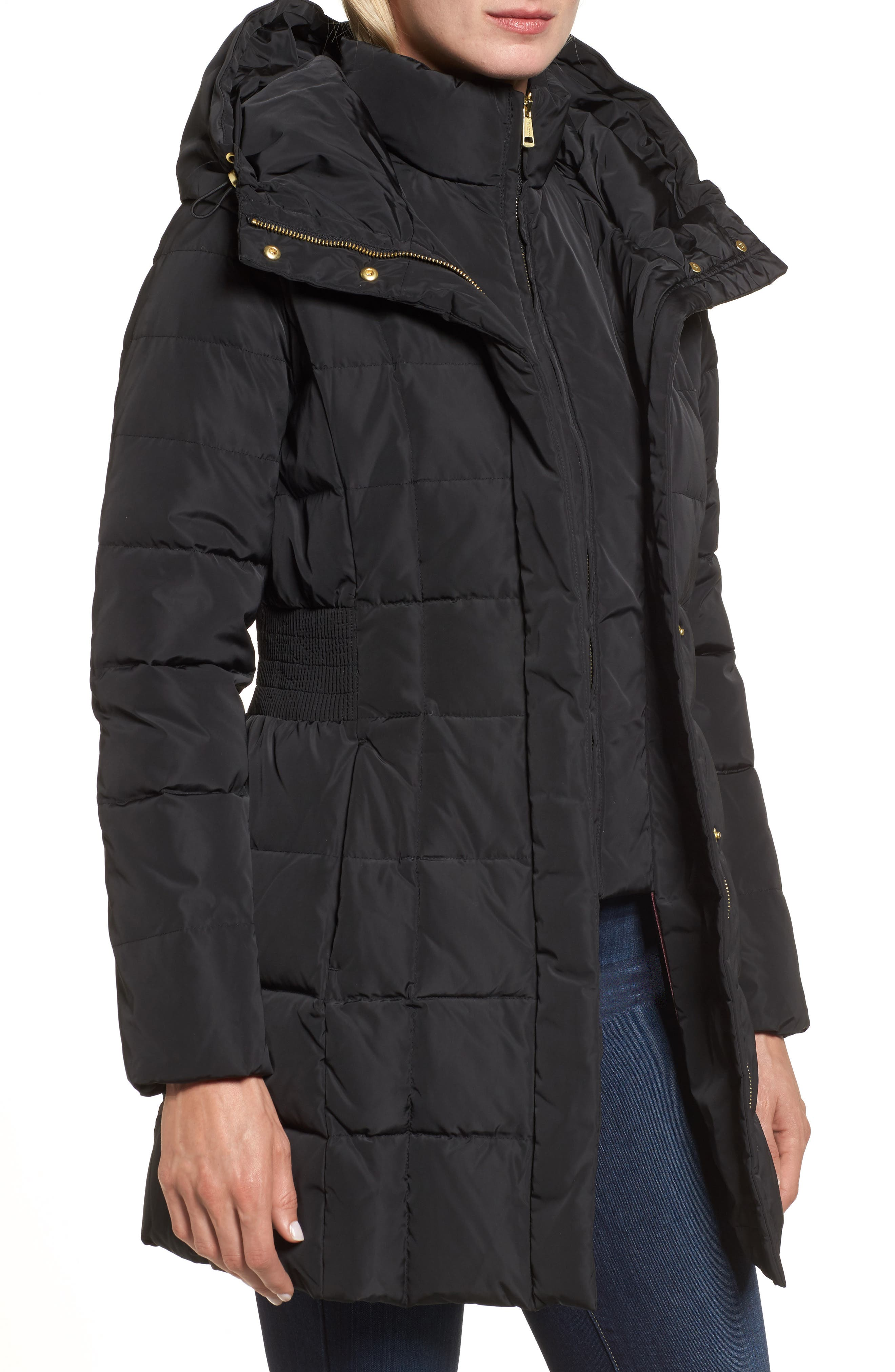 Cole Haan Hooded Down & Feather Jacket,                             Alternate thumbnail 4, color,                             BLACK