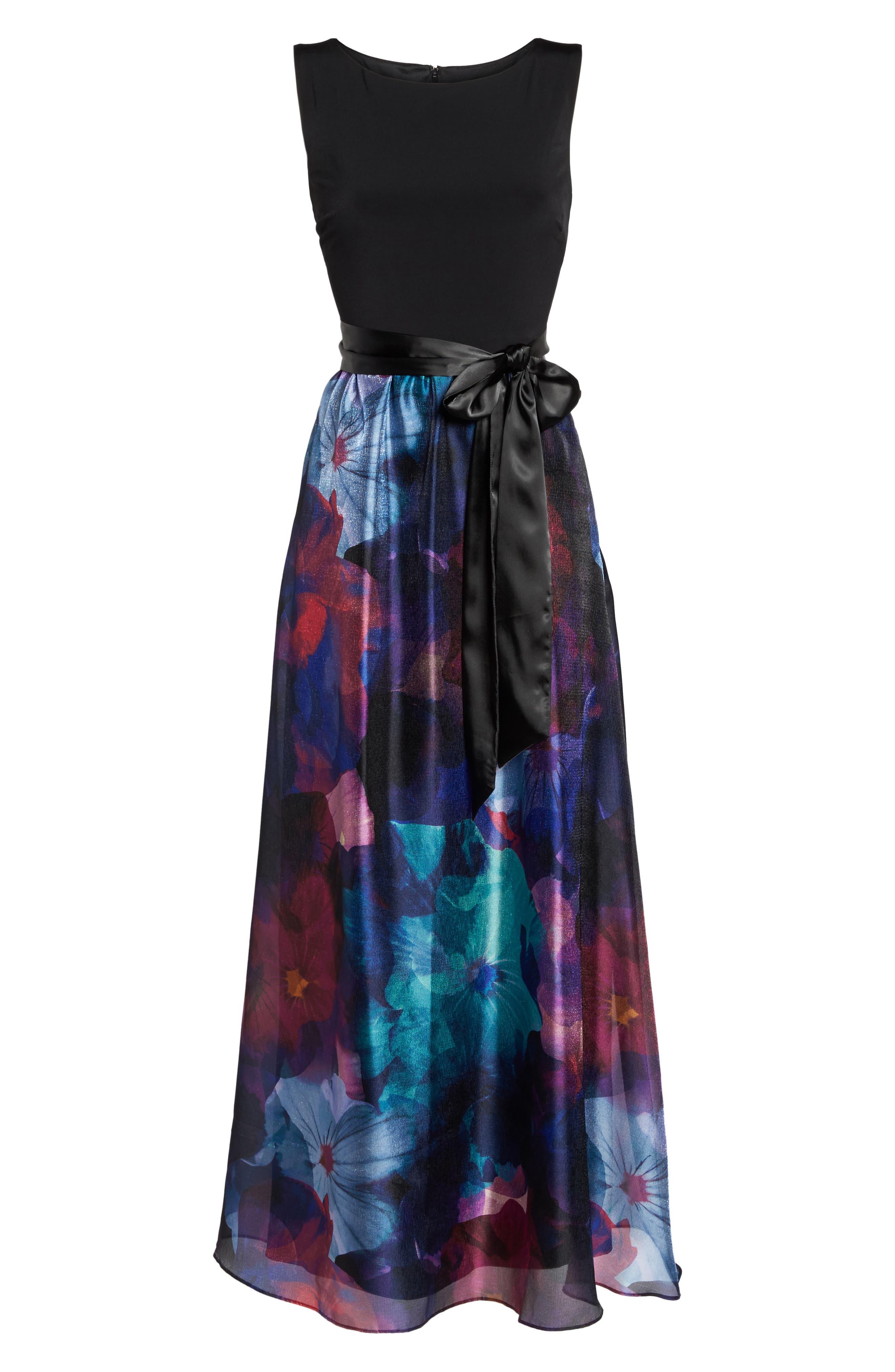 Floral Splash Mixed Media Maxi Dress,                             Alternate thumbnail 6, color,                             002