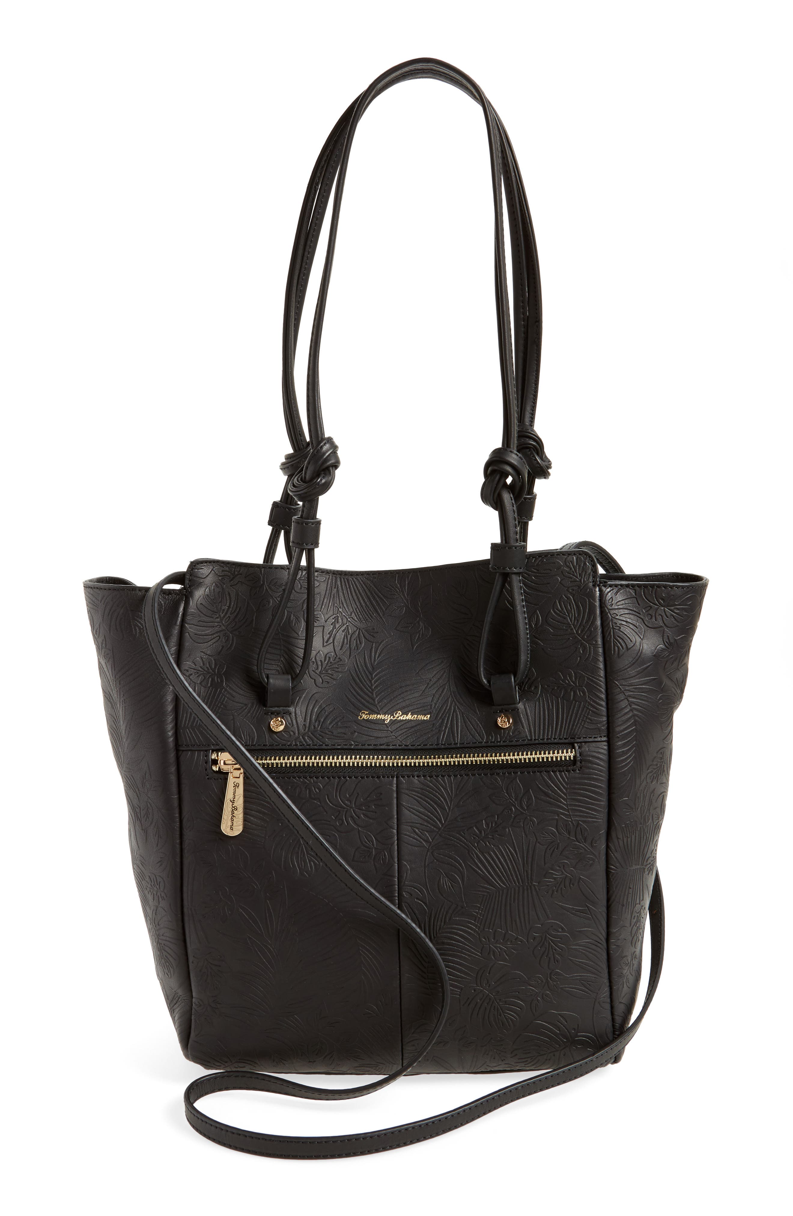 Embossed Leather Tote,                             Alternate thumbnail 3, color,                             001