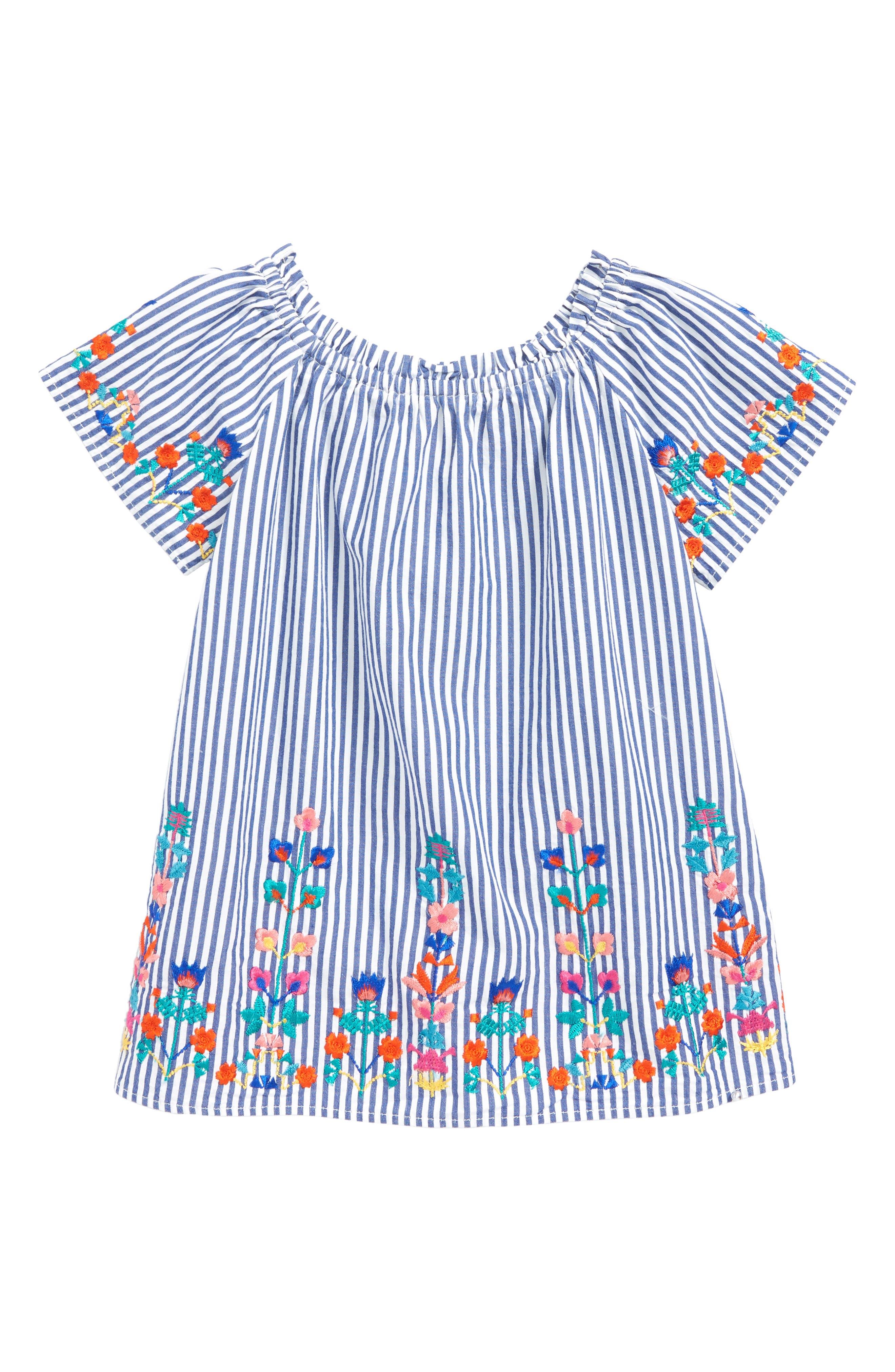 Christina Embroidered Stripe Dress,                             Main thumbnail 1, color,