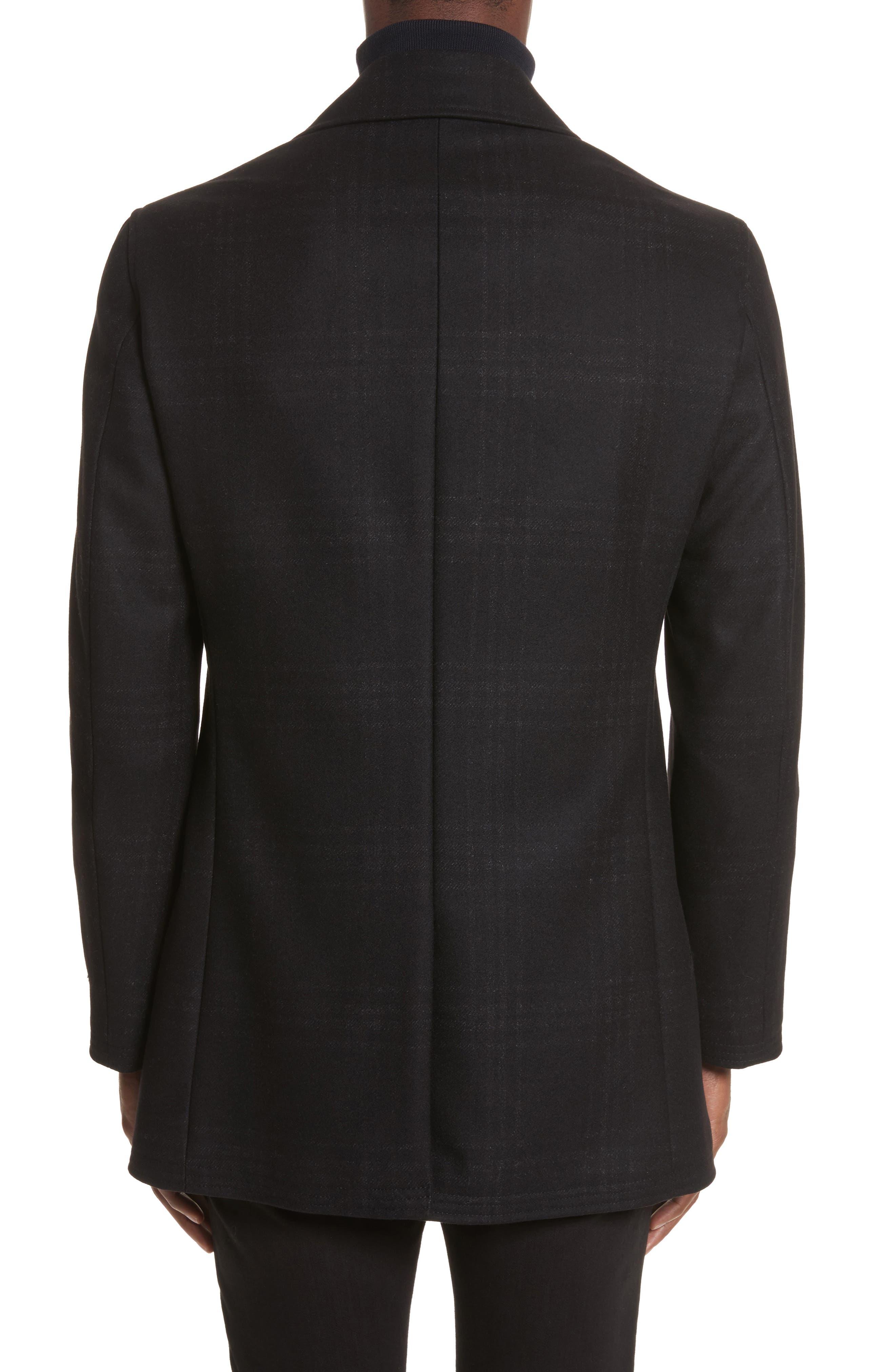 Hook Plaid Wool Blend Topcoat,                             Alternate thumbnail 2, color,                             001