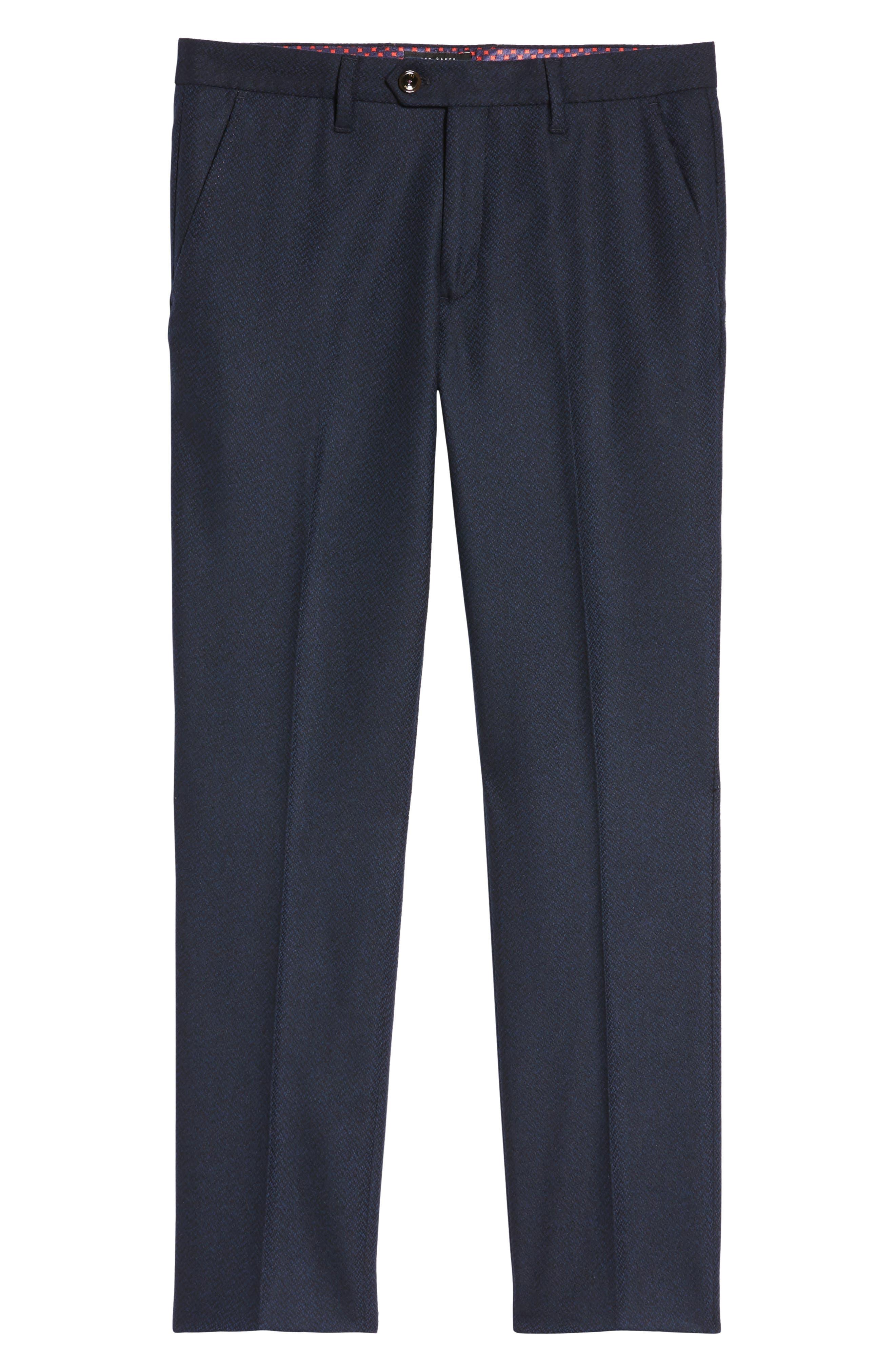 Glentro Semi Plain Wool Blend Trousers,                             Alternate thumbnail 6, color,                             410