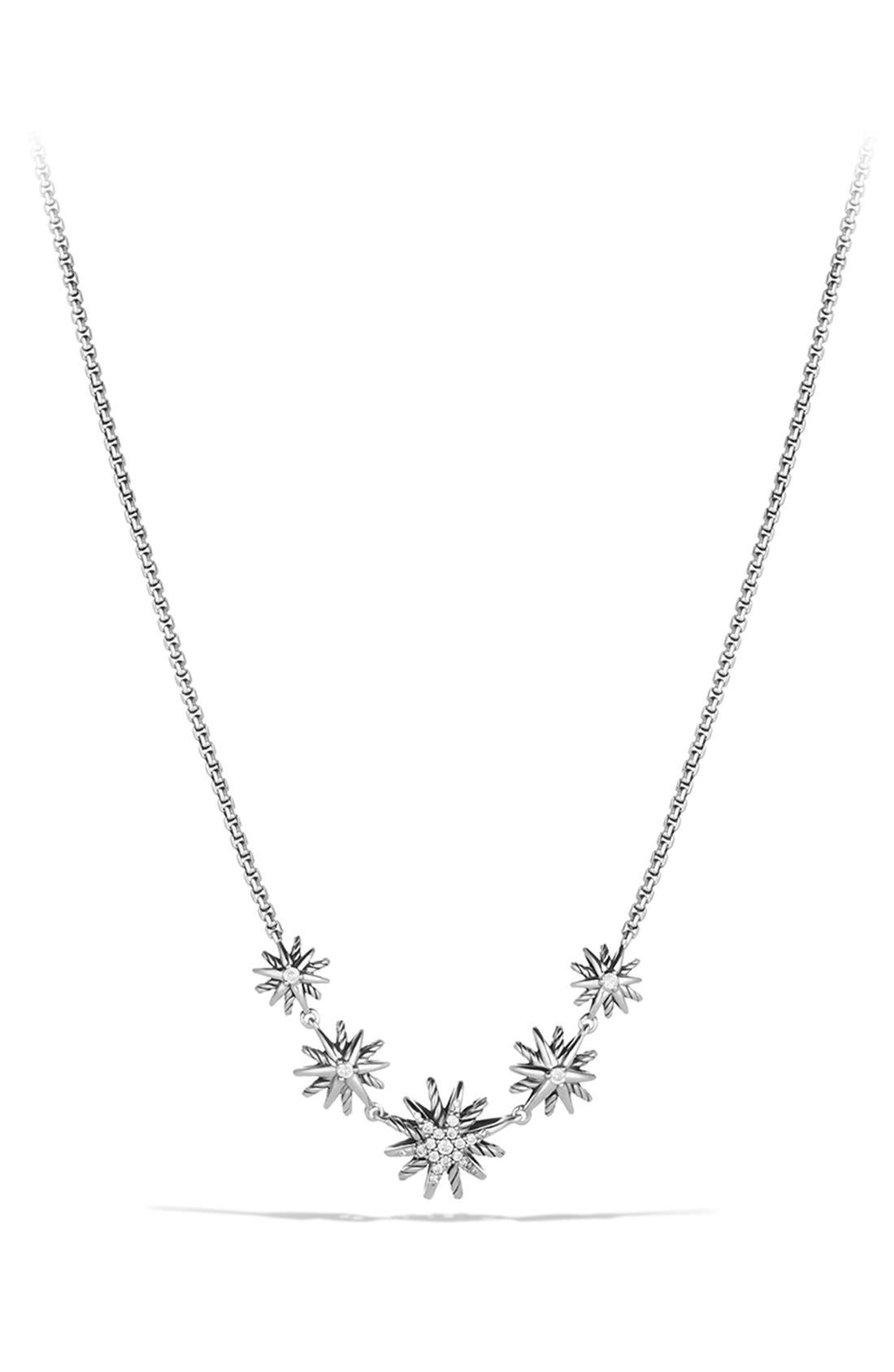 'Starburst' Five-Station Necklace with Diamonds,                         Main,                         color, STERLING SILVER
