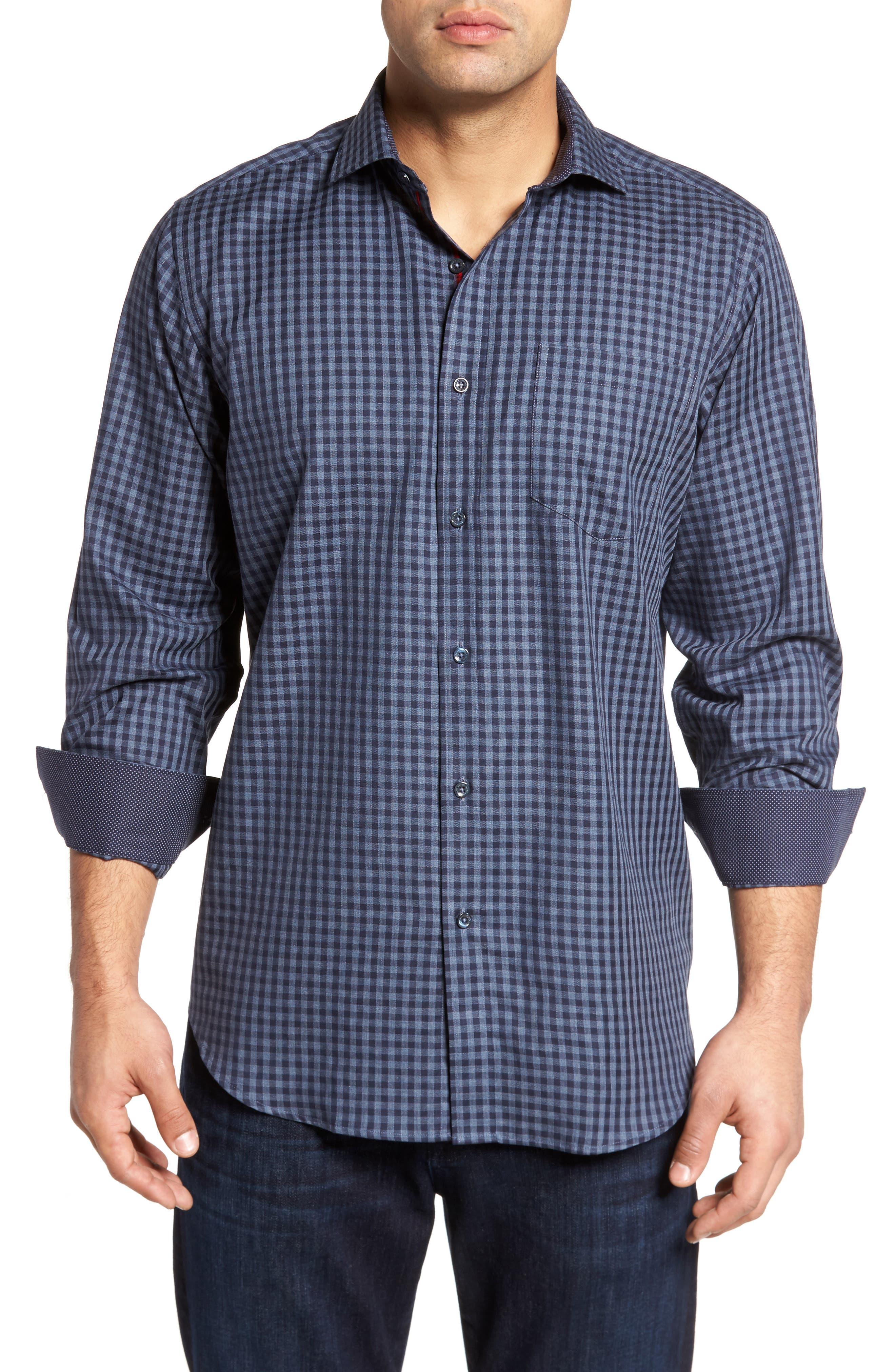 Classic Fit Herringbone Gingham Sport Shirt,                         Main,                         color, 030