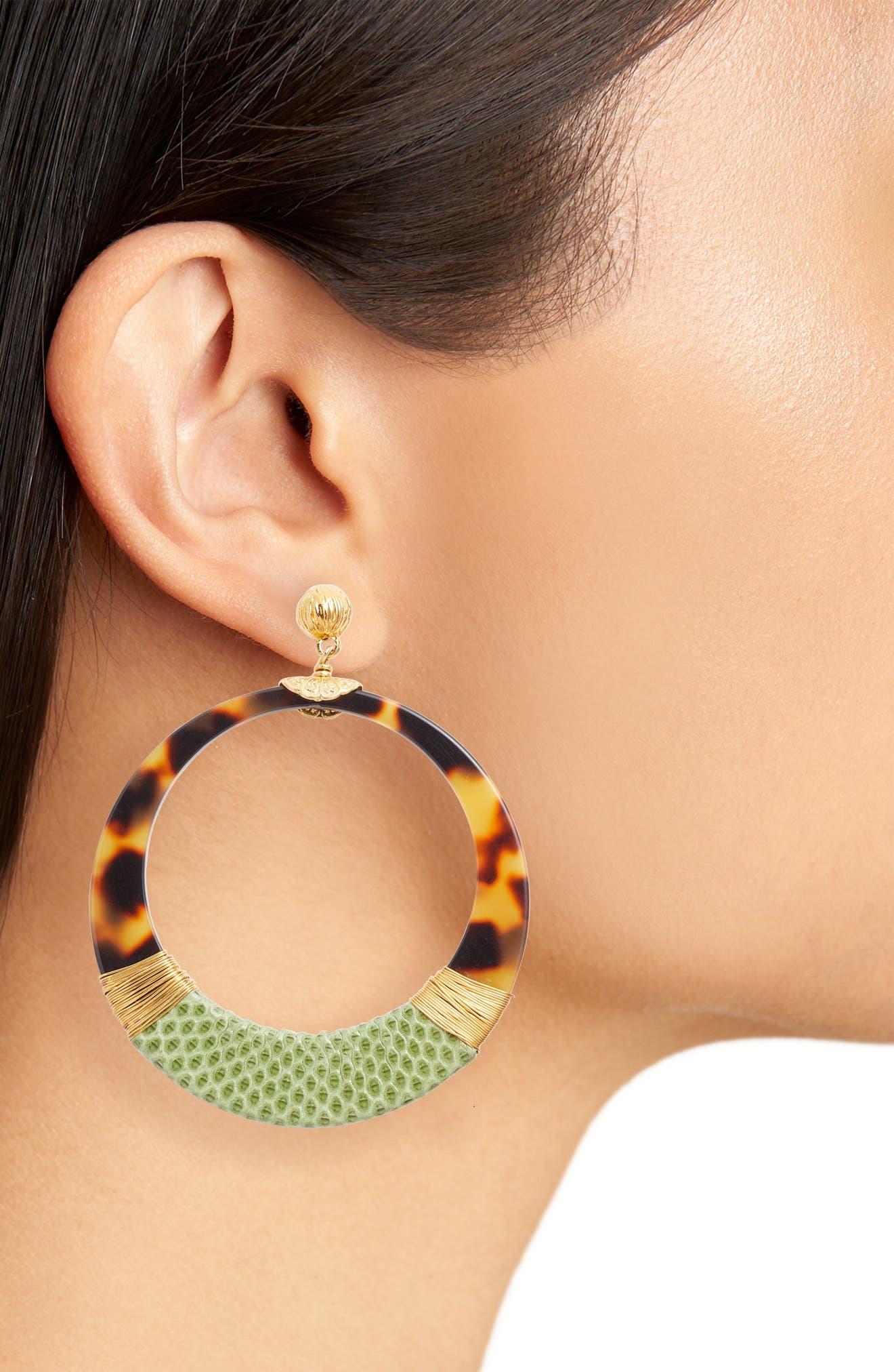 Lodge Genuine Snakeskin Wrapped Hoop Earrings,                             Alternate thumbnail 2, color,                             GREEEN/ TIGE