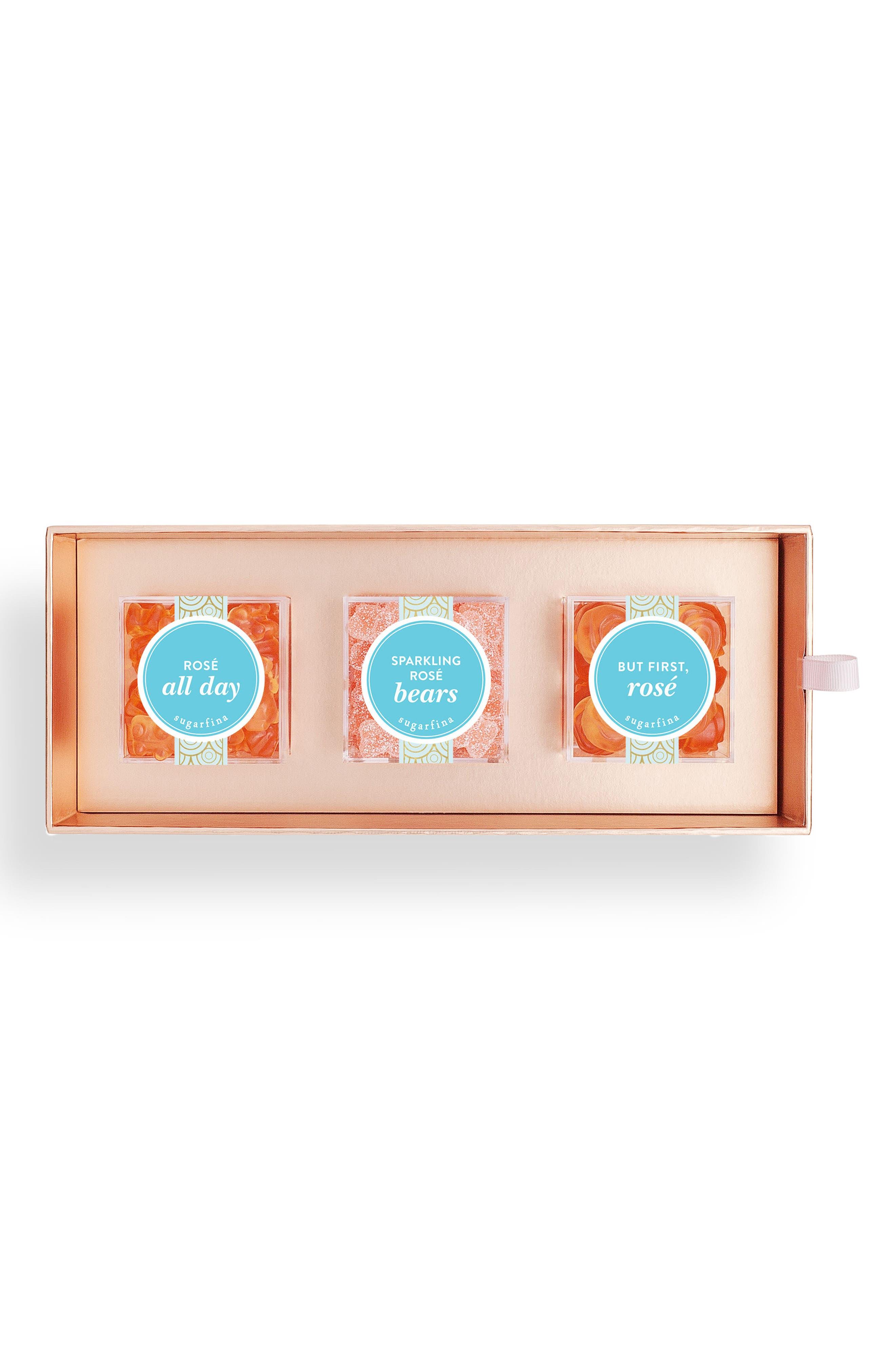 Rosé 3-Piece Candy Bento Box,                             Main thumbnail 1, color,                             650