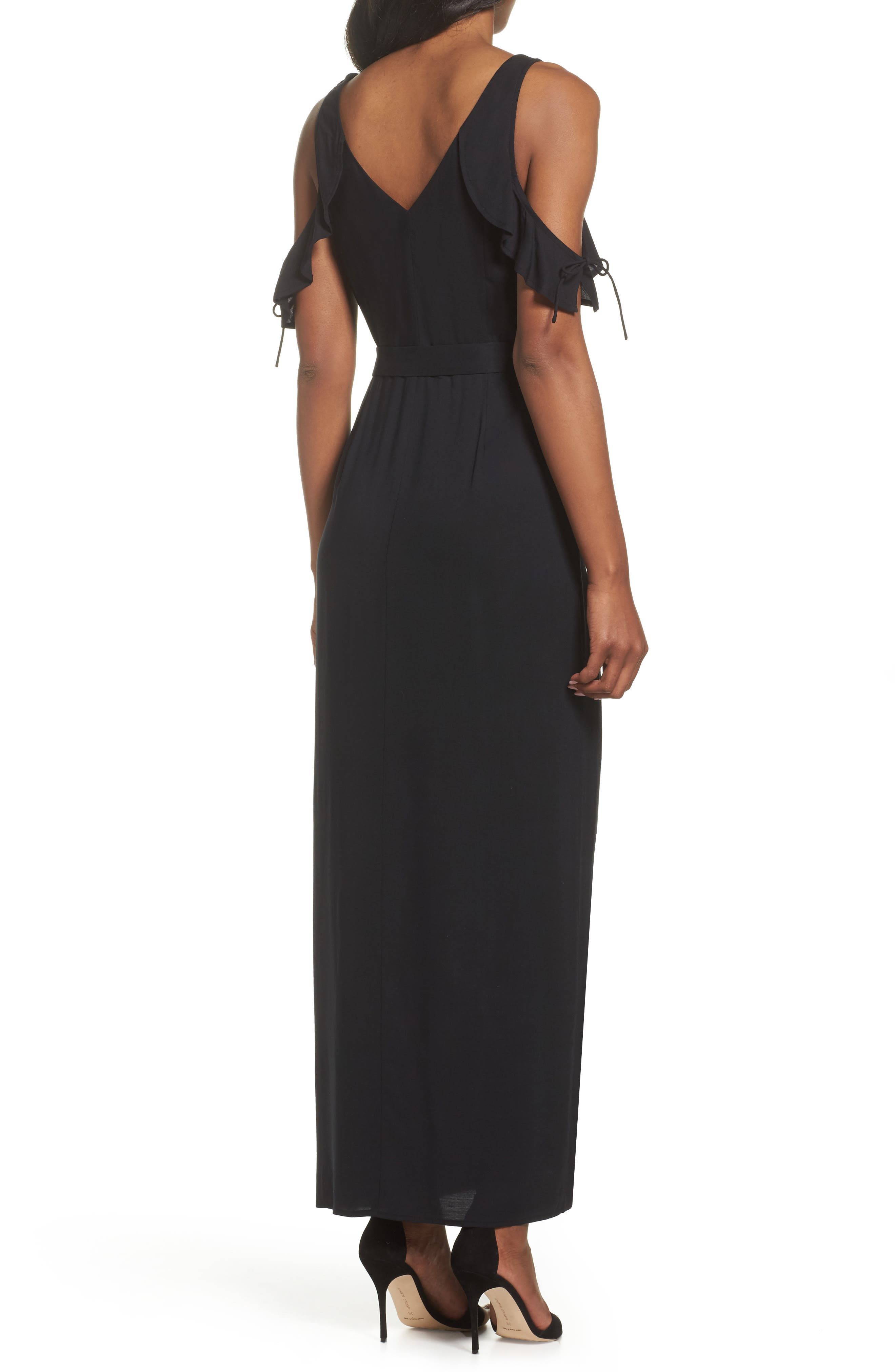 Lystra Cold Shoulder Maxi Dress,                             Alternate thumbnail 2, color,                             001