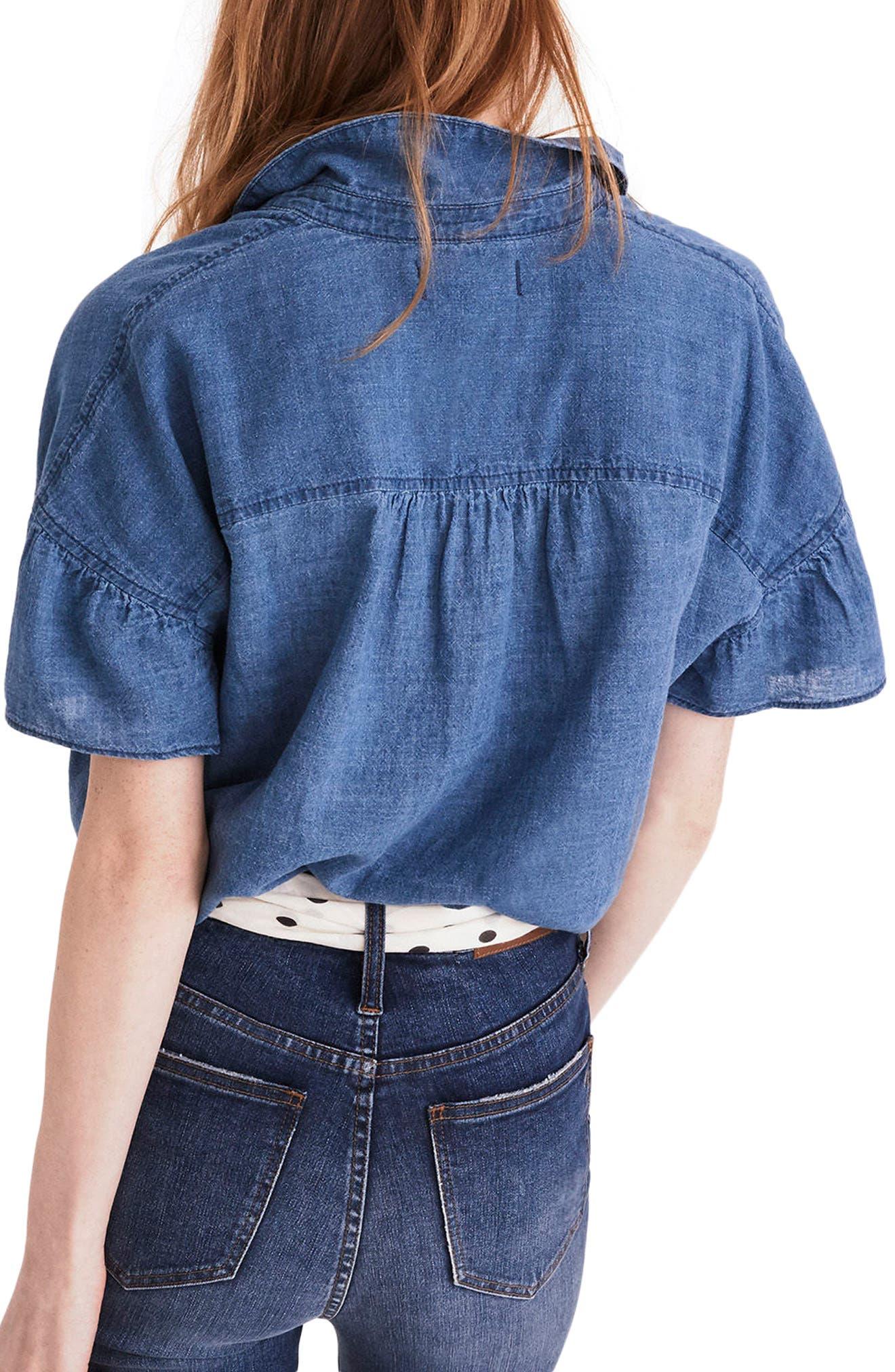 Central Ruffle Sleeve Shirt,                             Alternate thumbnail 2, color,                             400
