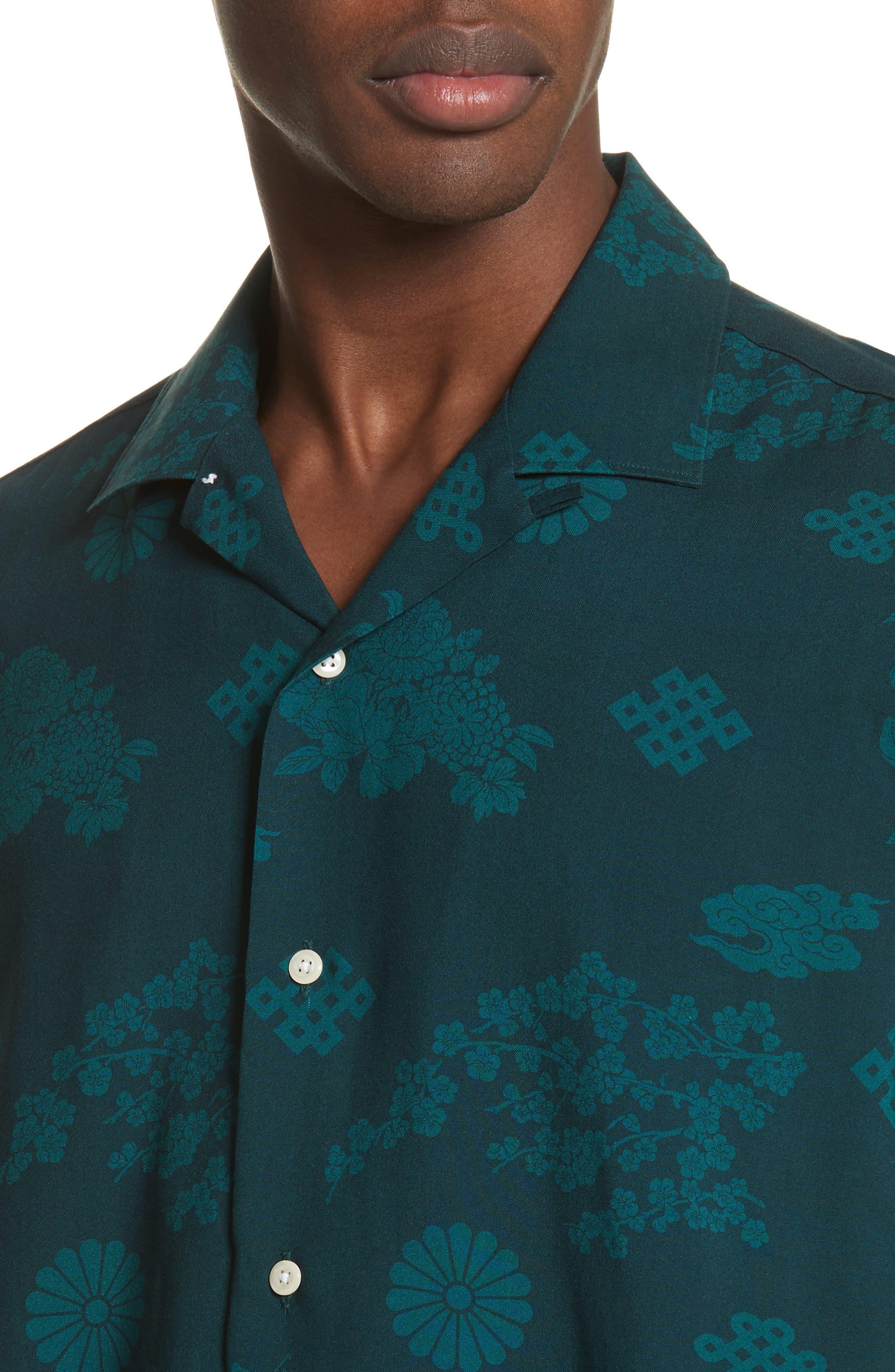 x The North Face Men's Floral Print Camp Shirt,                             Alternate thumbnail 5, color,                             300