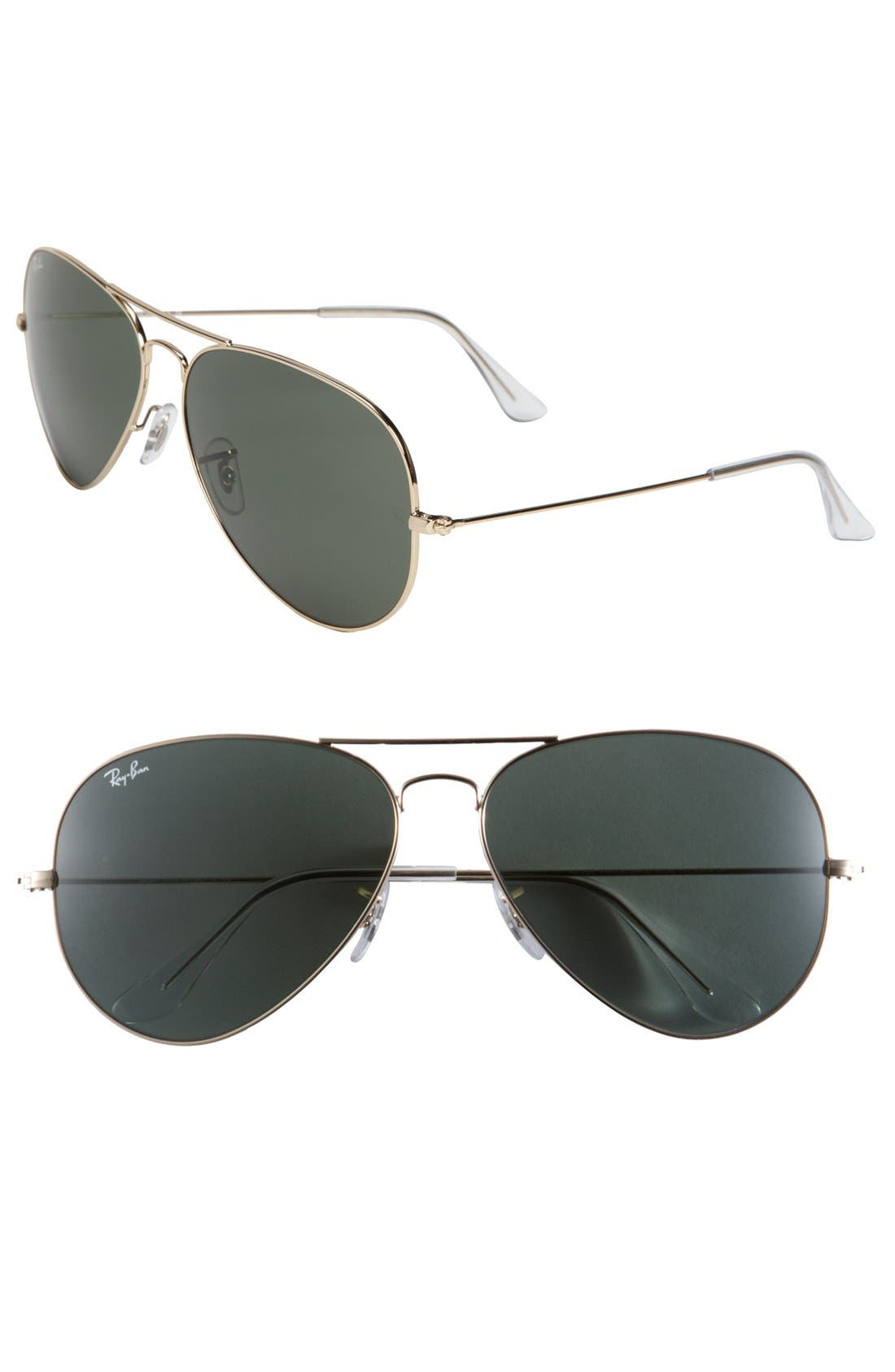 Ray-Ban Large Original 62Mm Aviator Sunglasses - Gold/ Green