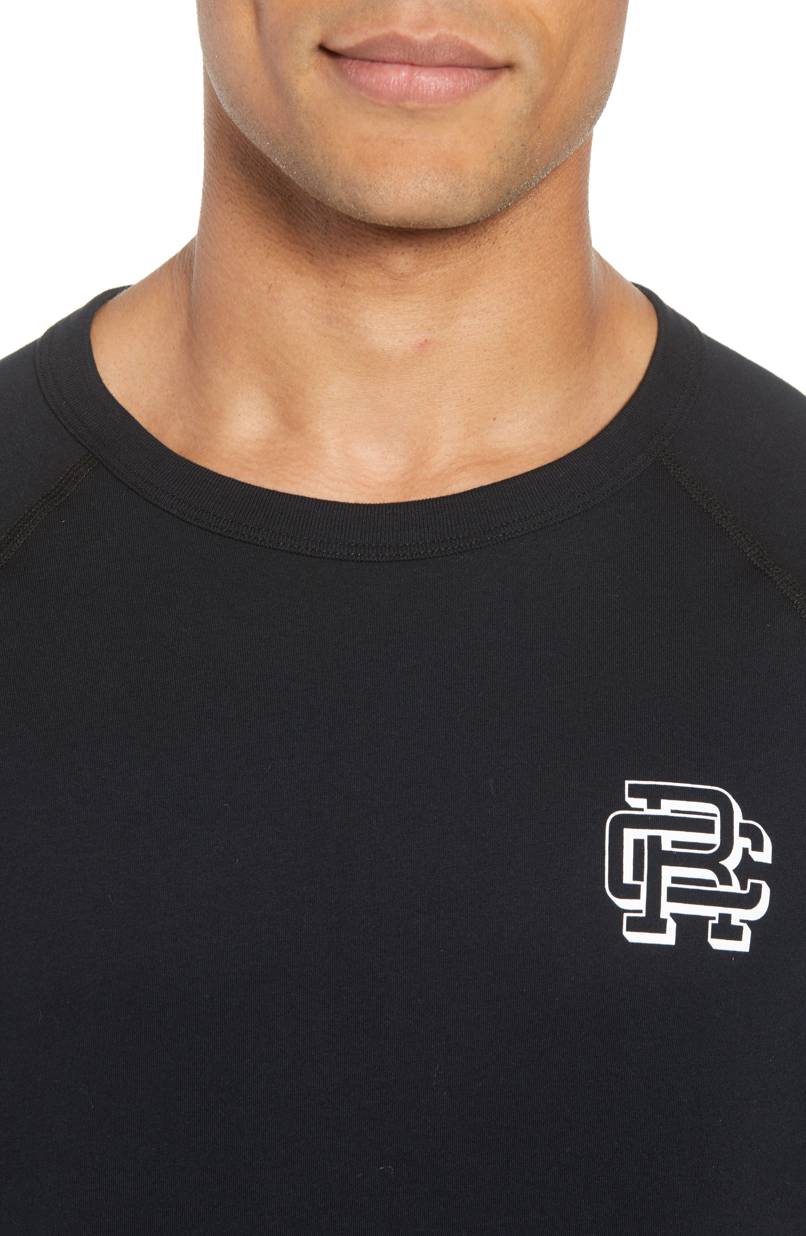 Logo Crewneck T-Shirt,                             Alternate thumbnail 4, color,                             BLACK