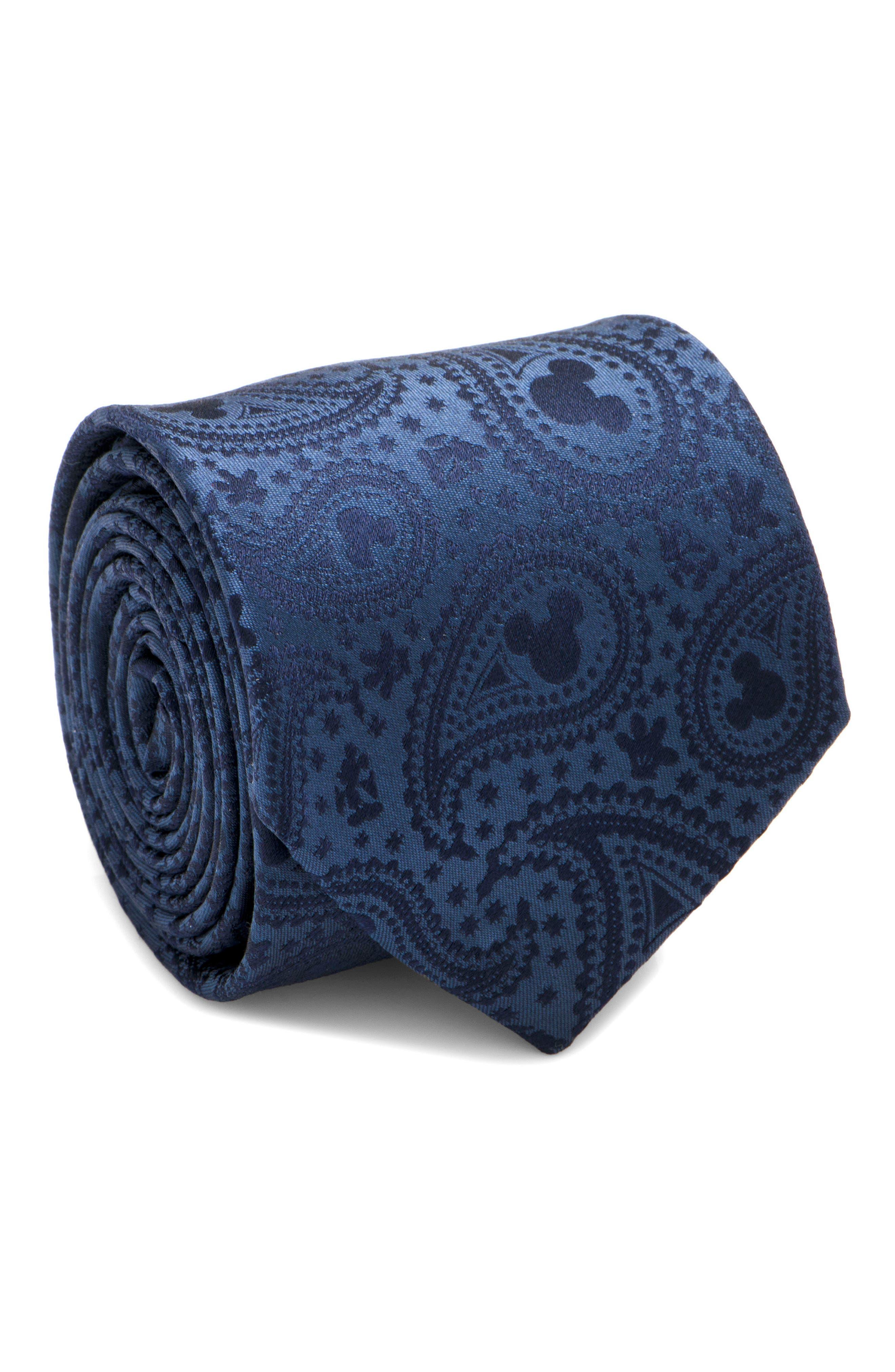 Mickey Paisley Silk Tie,                         Main,                         color, NAVY