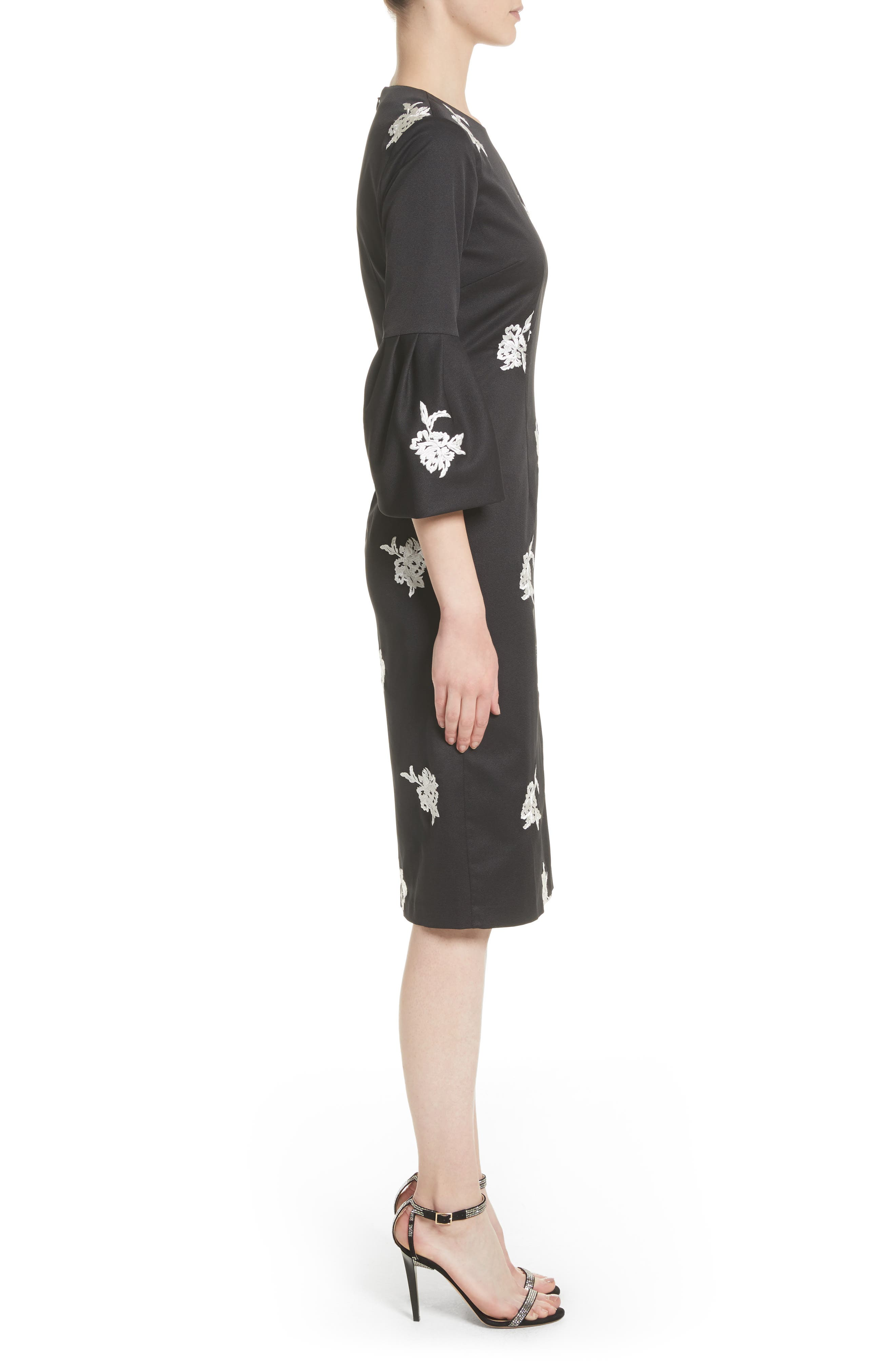Noir Embroidered Bell Sleeve Sheath Dress,                             Alternate thumbnail 3, color,                             001