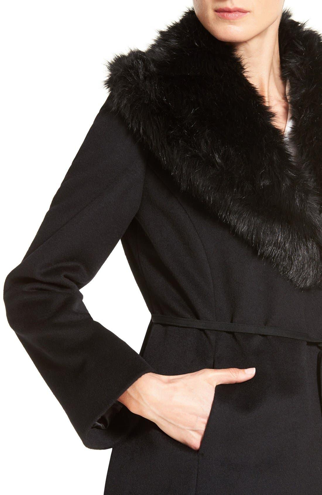Faux Fur Shawl Collar Wool Blend Wrap Coat,                             Alternate thumbnail 4, color,