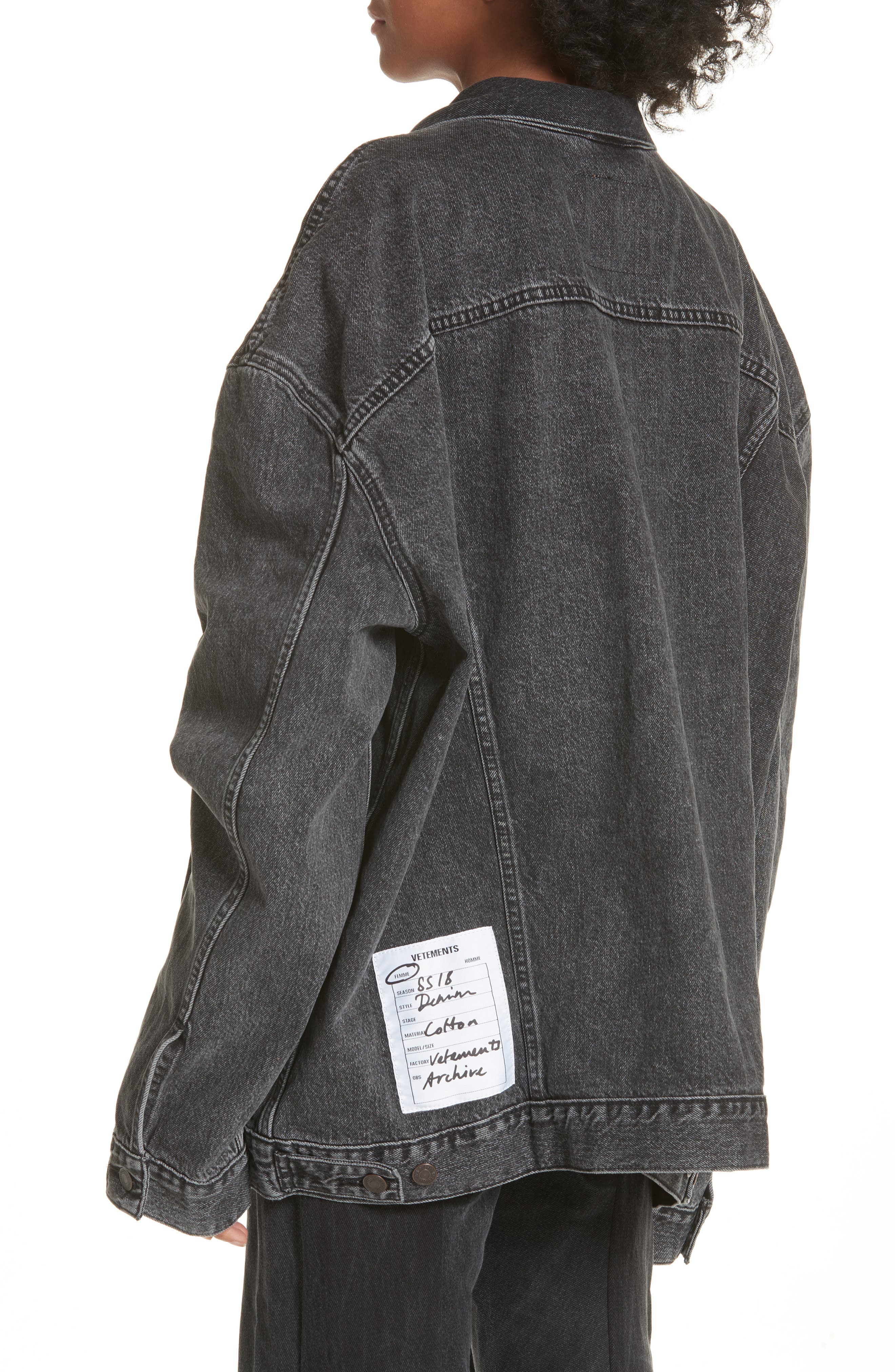 Oversized Removable Hood Denim Jacket,                             Alternate thumbnail 2, color,                             001