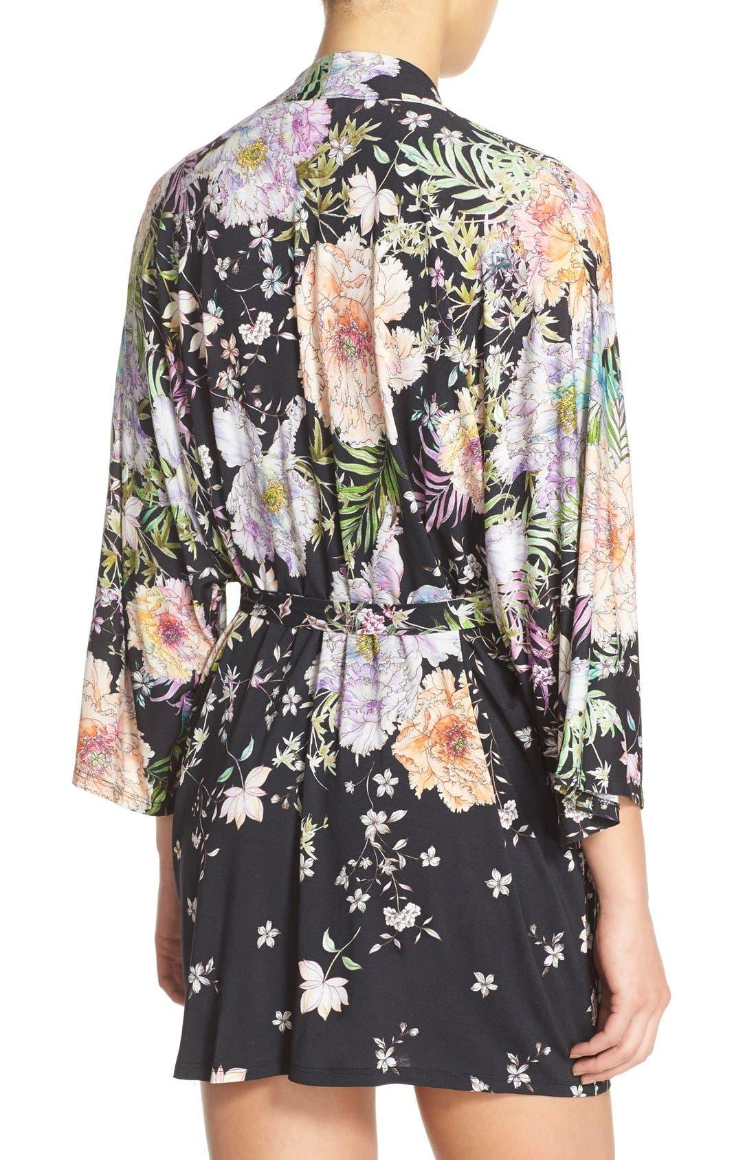 FLORA NIKROOZ,                             'Magnolia' Knit Short Robe,                             Alternate thumbnail 2, color,                             001