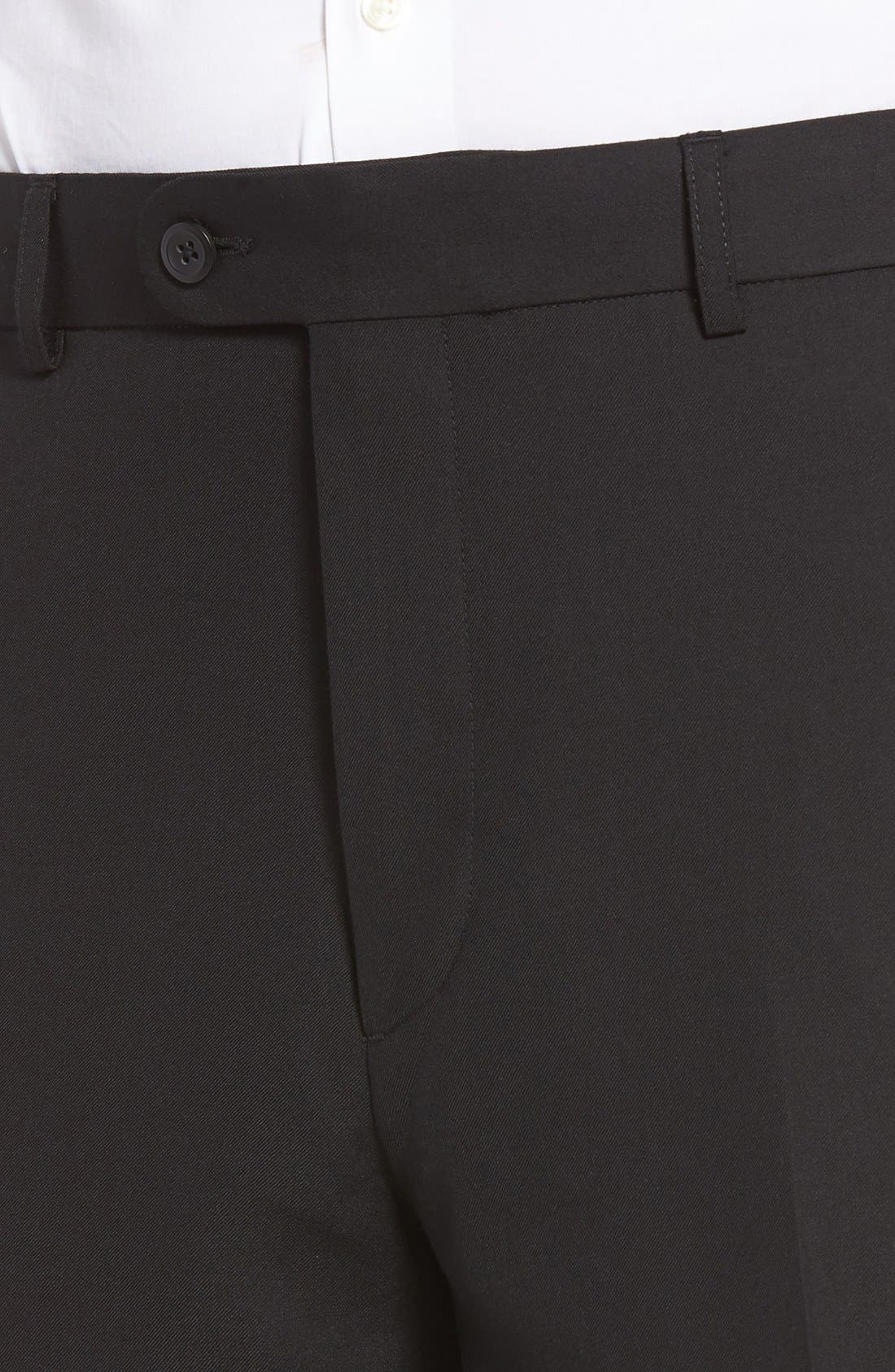 'Travel Genius - Hawk' Flat Front Pants,                             Alternate thumbnail 4, color,                             001