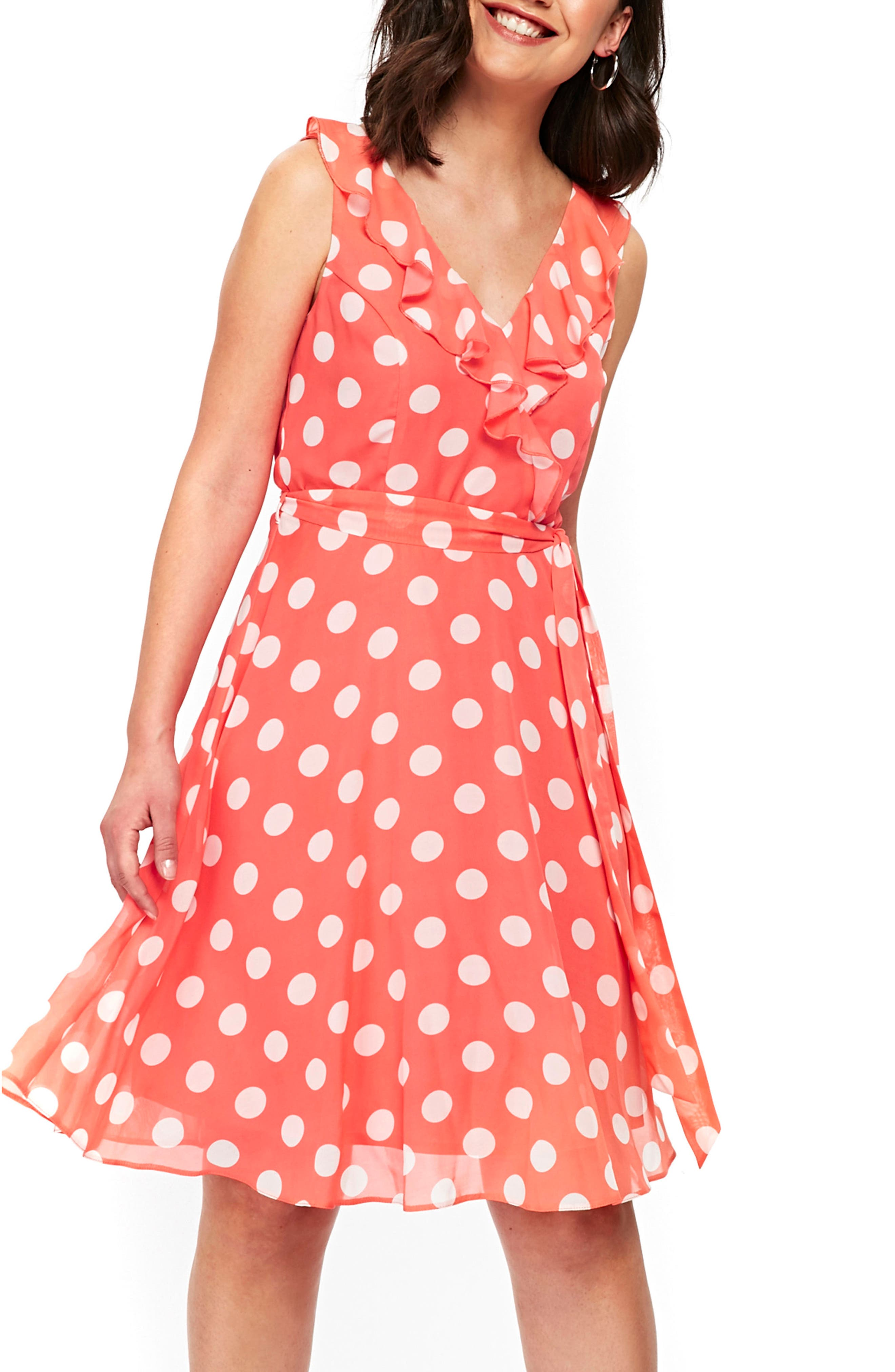 Ruffle Spot Fit & Flare Dress,                             Alternate thumbnail 3, color,                             CORAL